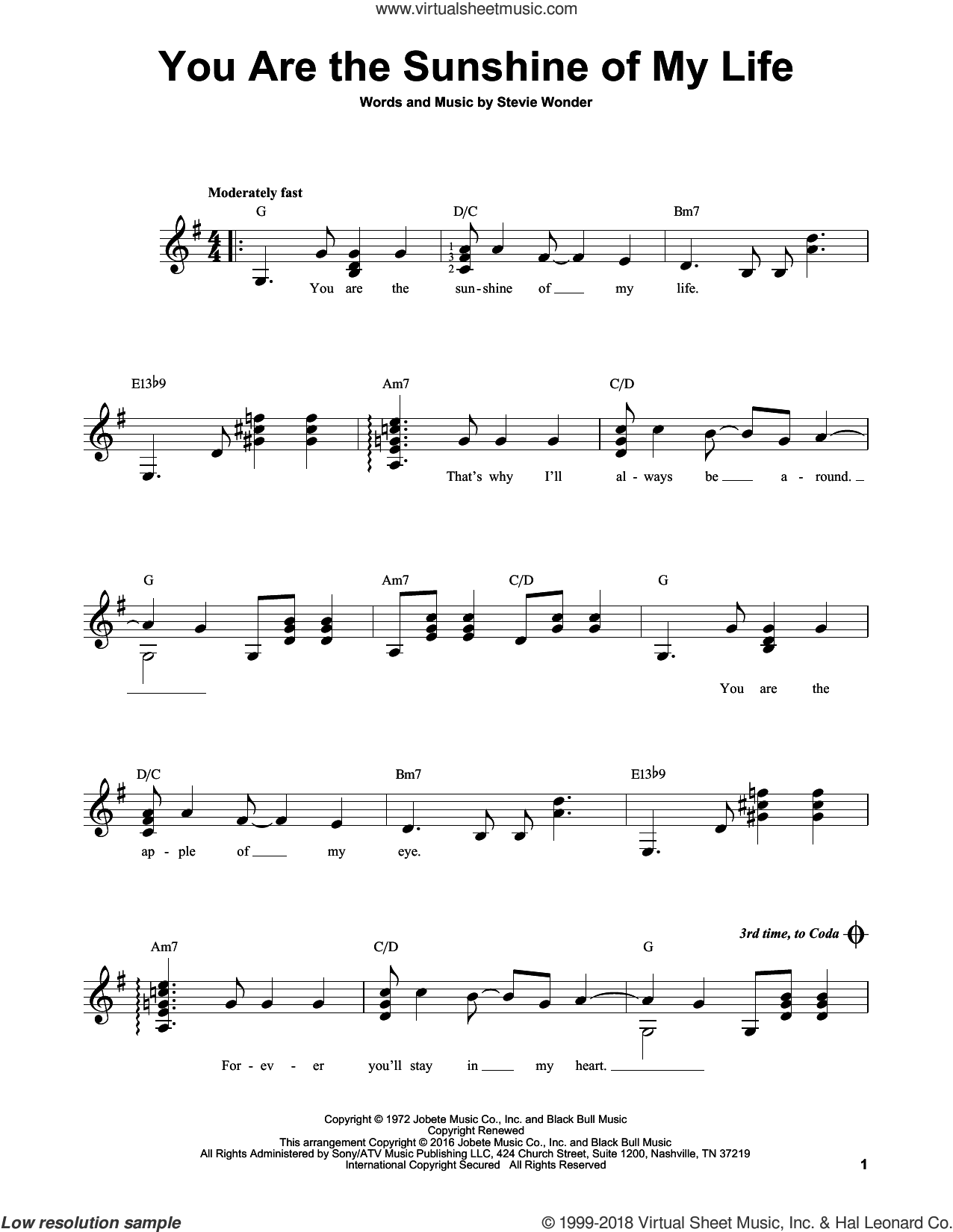 You Are The Sunshine Of My Life sheet music for guitar solo (chords) by Stevie Wonder, easy guitar (chords)