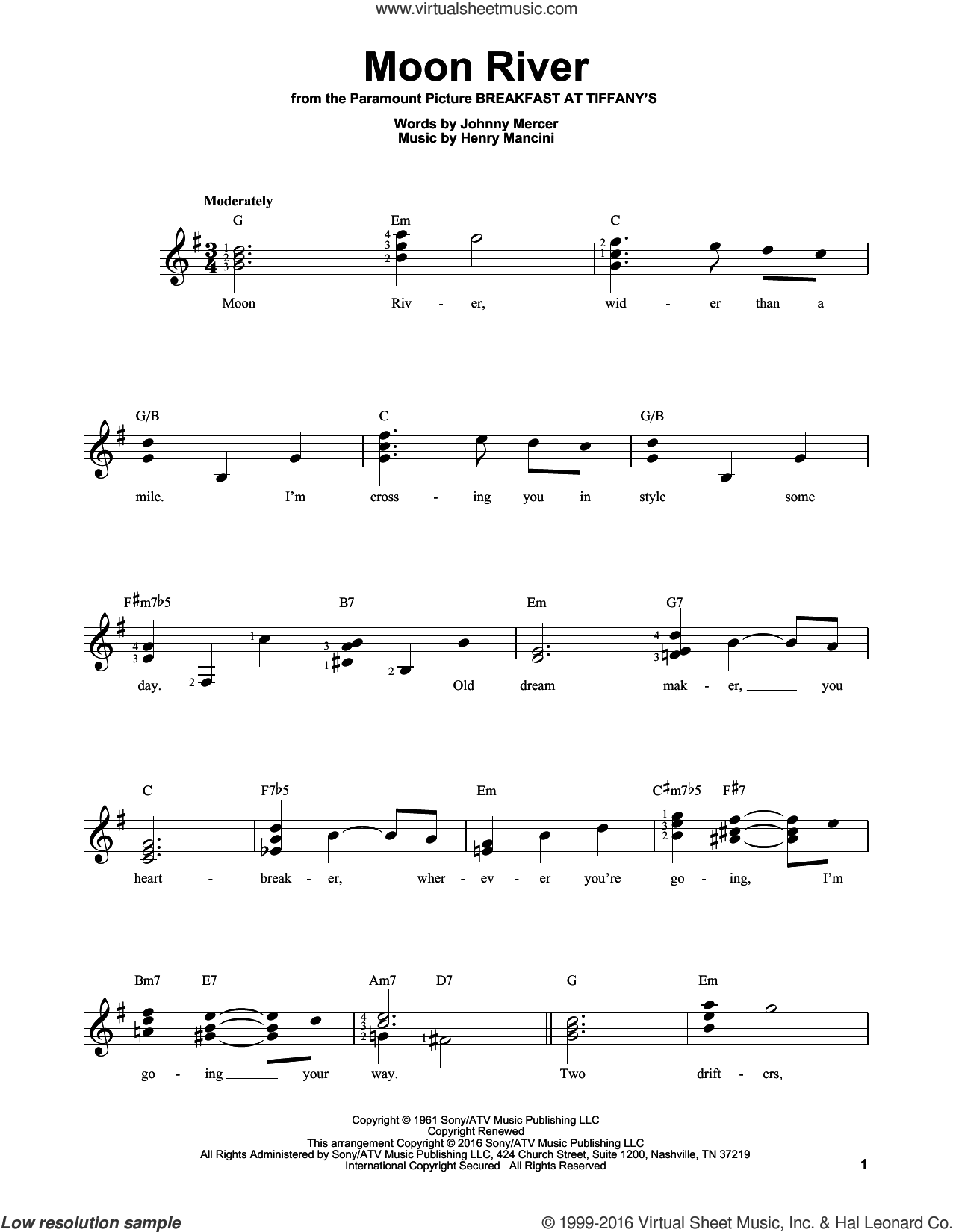 Moon River sheet music for guitar solo (chords) by Henry Mancini, Andy Williams and Johnny Mercer, easy guitar (chords)
