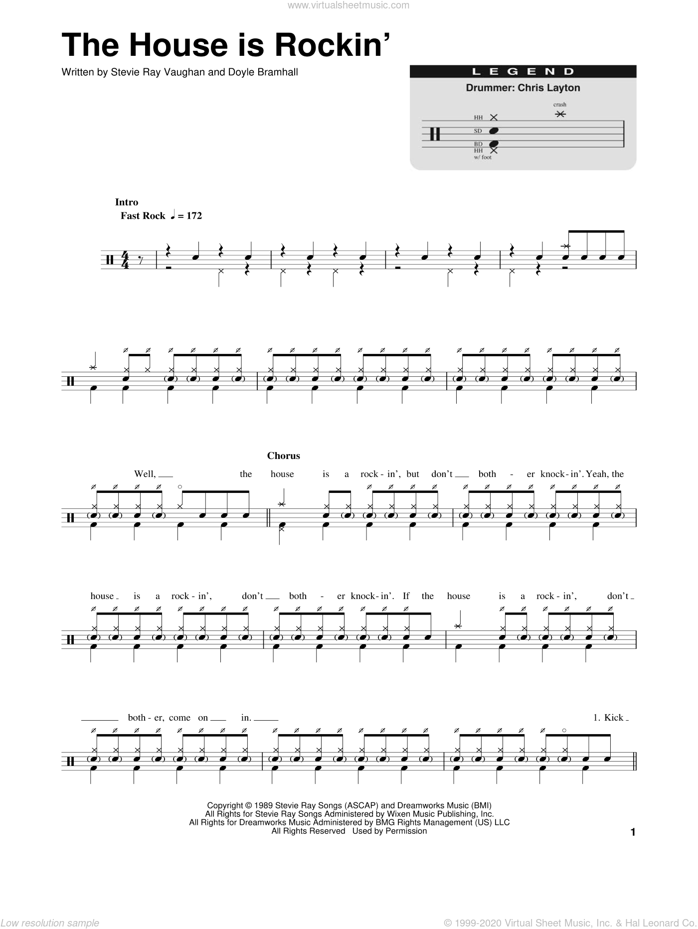 The House Is Rockin' sheet music for drums by Stevie Ray Vaughan and Doyle Bramhall, intermediate