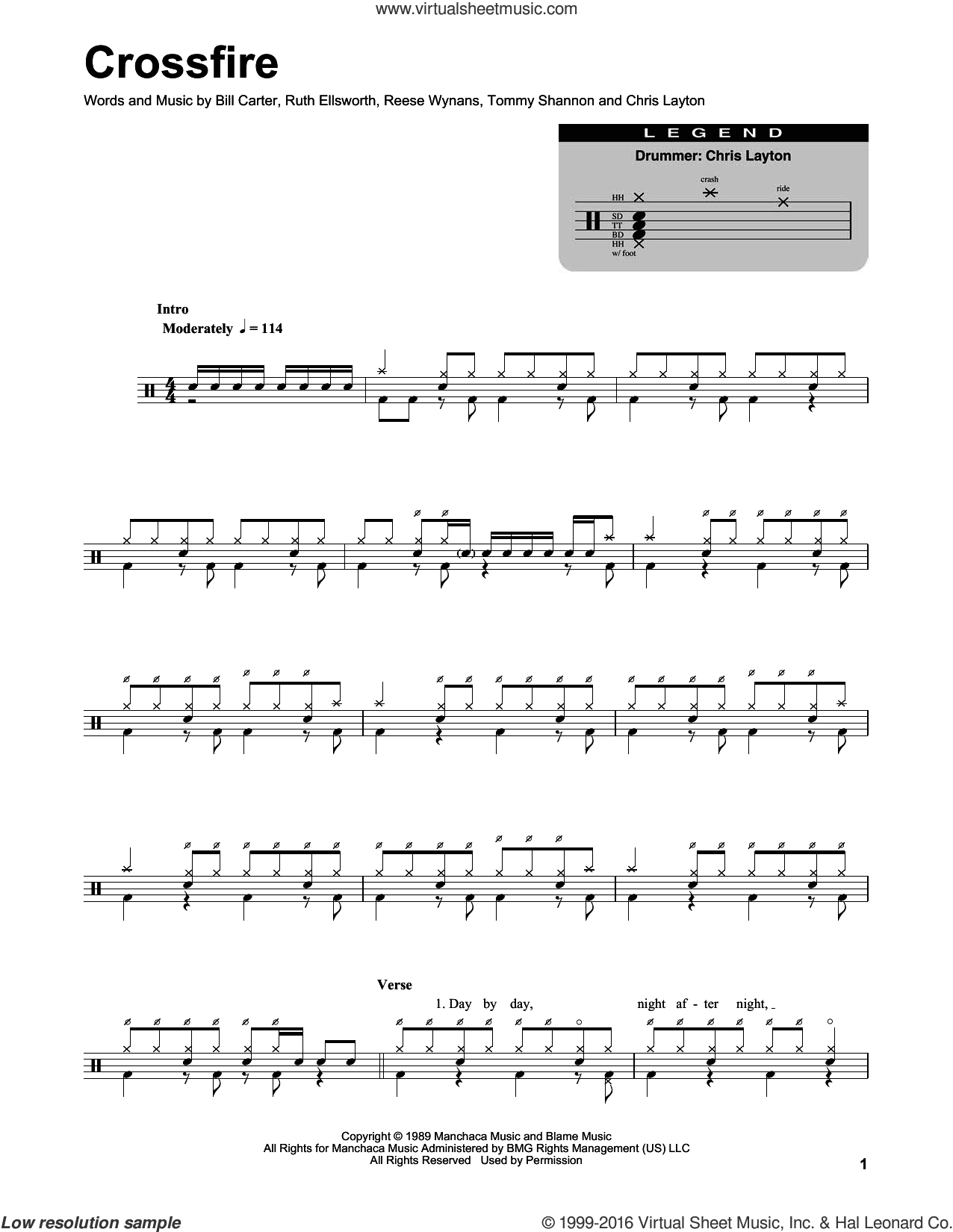 Crossfire sheet music for drums by Stevie Ray Vaughan, Bill Carter, Chris Layton, Reese Wynans, Ruth Ellsworth and Tommy Shannon, intermediate skill level