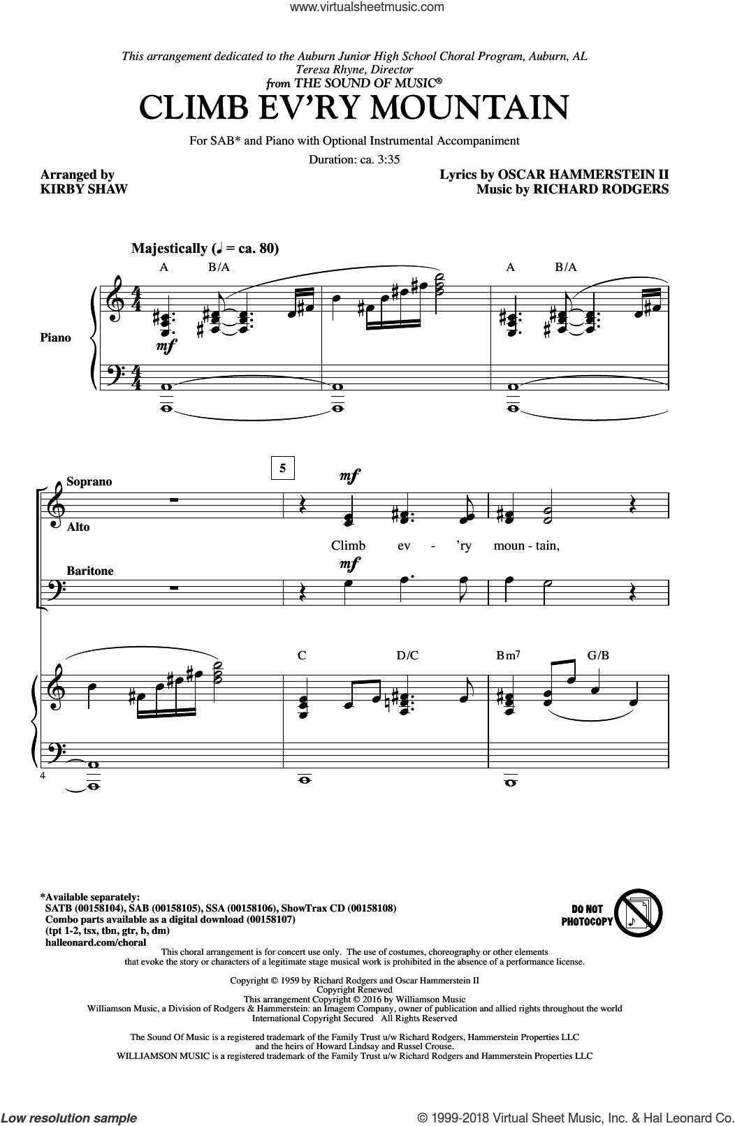 Climb Ev'ry Mountain sheet music for choir (SAB: soprano, alto, bass) by Richard Rodgers, Kirby Shaw, Margery McKay, Patricia Neway, Tony Bennett and Oscar II Hammerstein, intermediate skill level