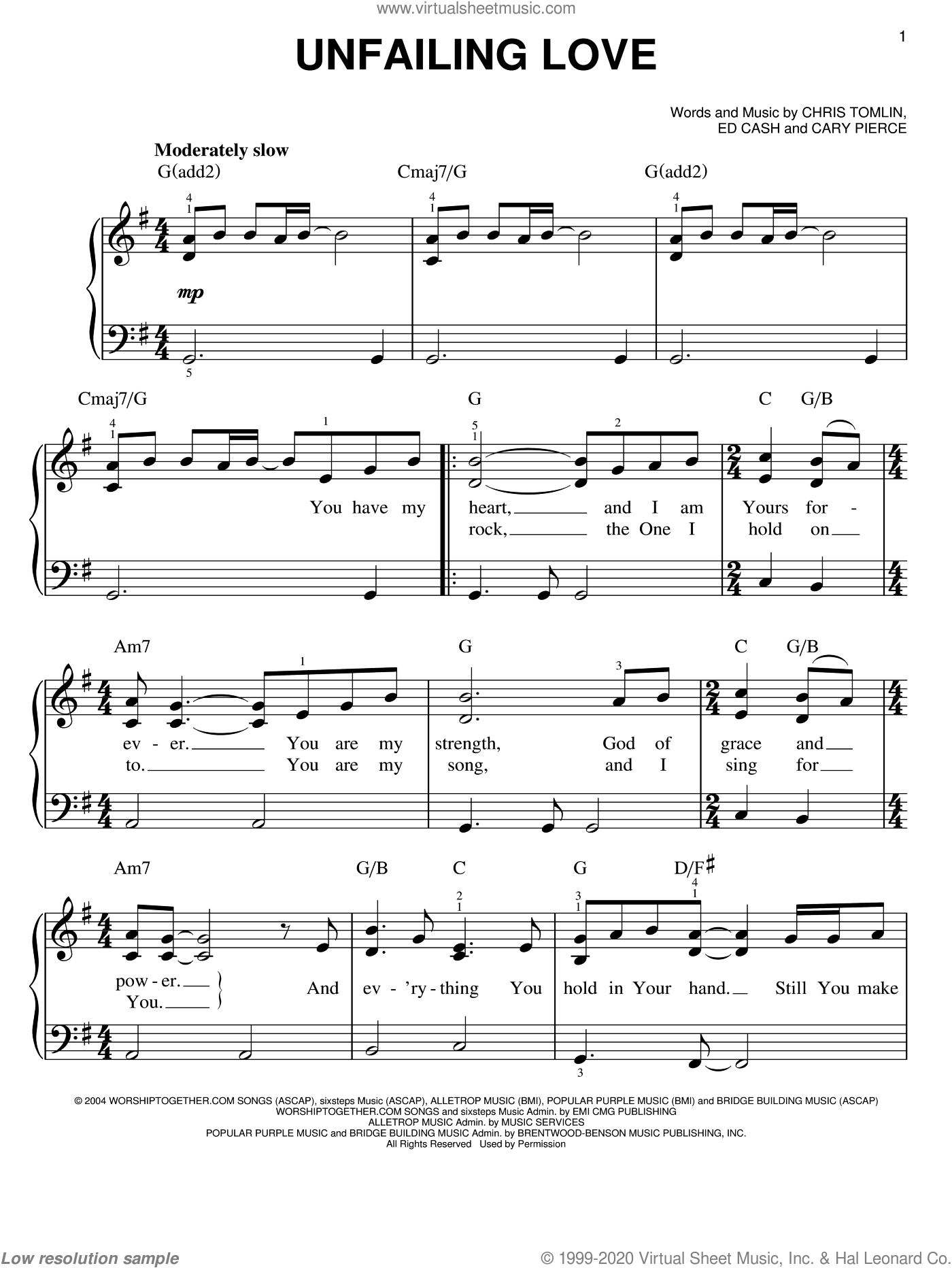 Unfailing Love sheet music for piano solo by Chris Tomlin, Cary Pierce and Ed Cash, easy skill level