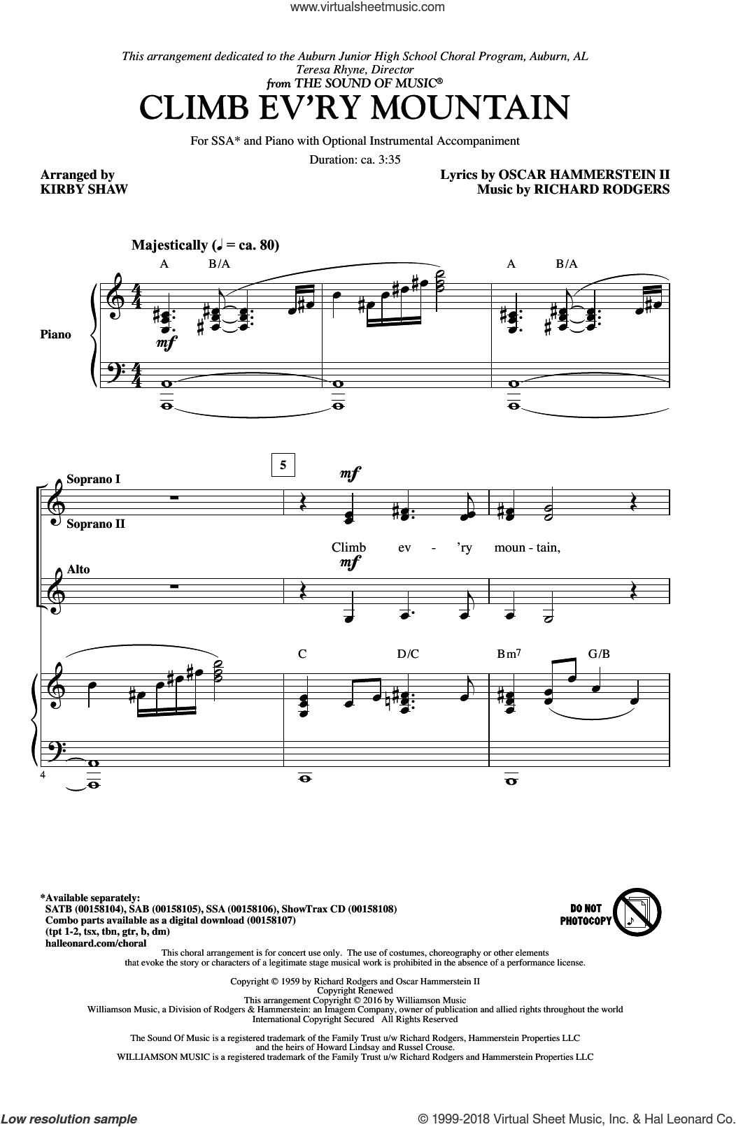 Climb Ev'ry Mountain sheet music for choir and piano (SSA) by Richard Rodgers