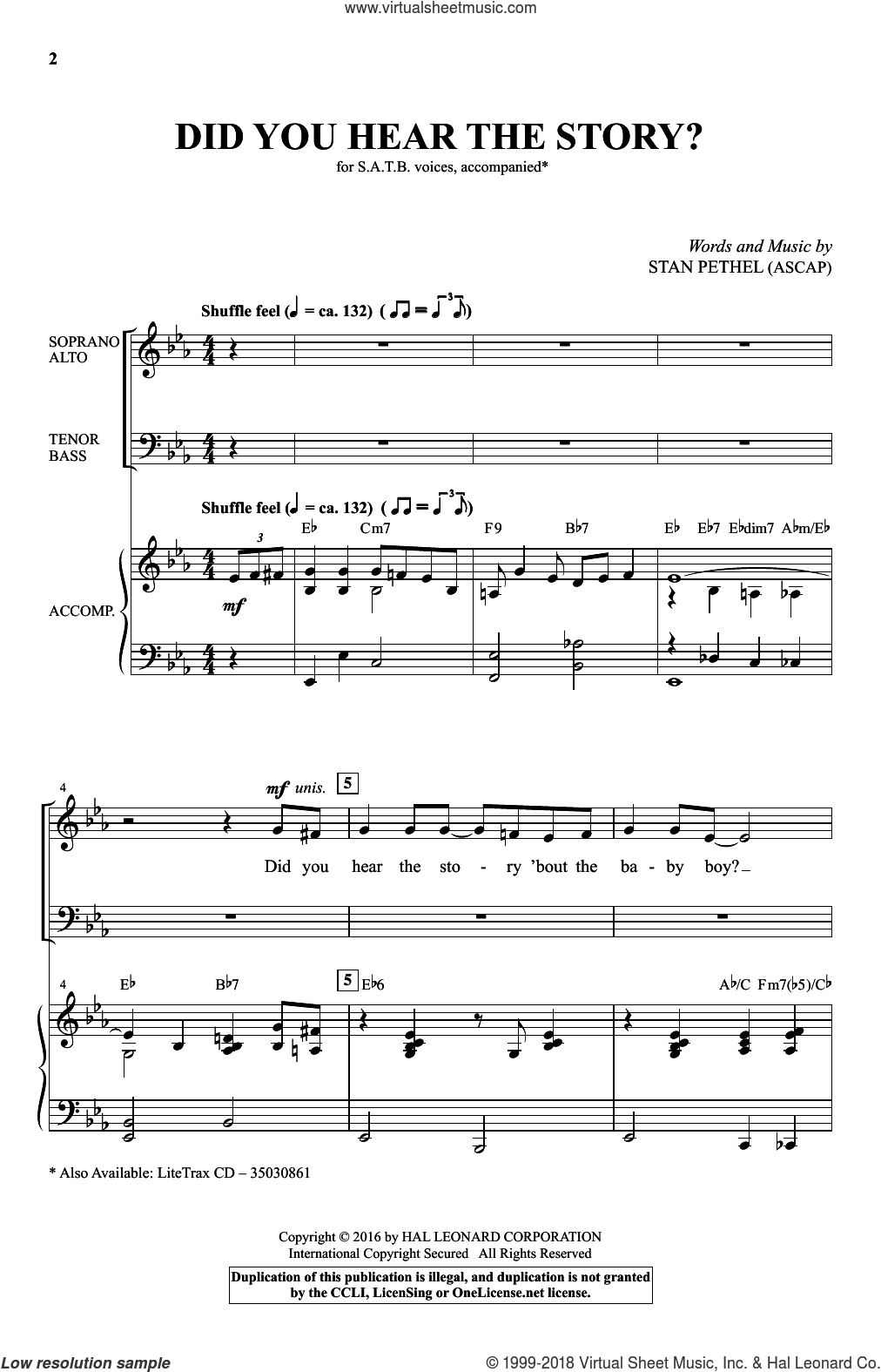 Did You Hear The Story? sheet music for choir (SATB) by Stan Pethel. Score Image Preview.