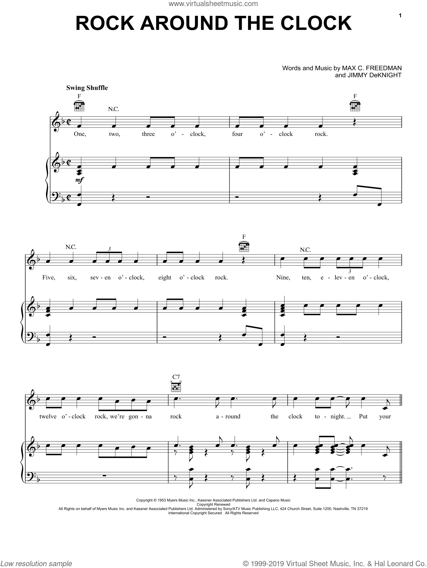 Rock Around The Clock sheet music for voice, piano or guitar by Bill Haley & His Comets, Bill Haley, Jimmy DeKnight and Max C. Freedman, intermediate skill level