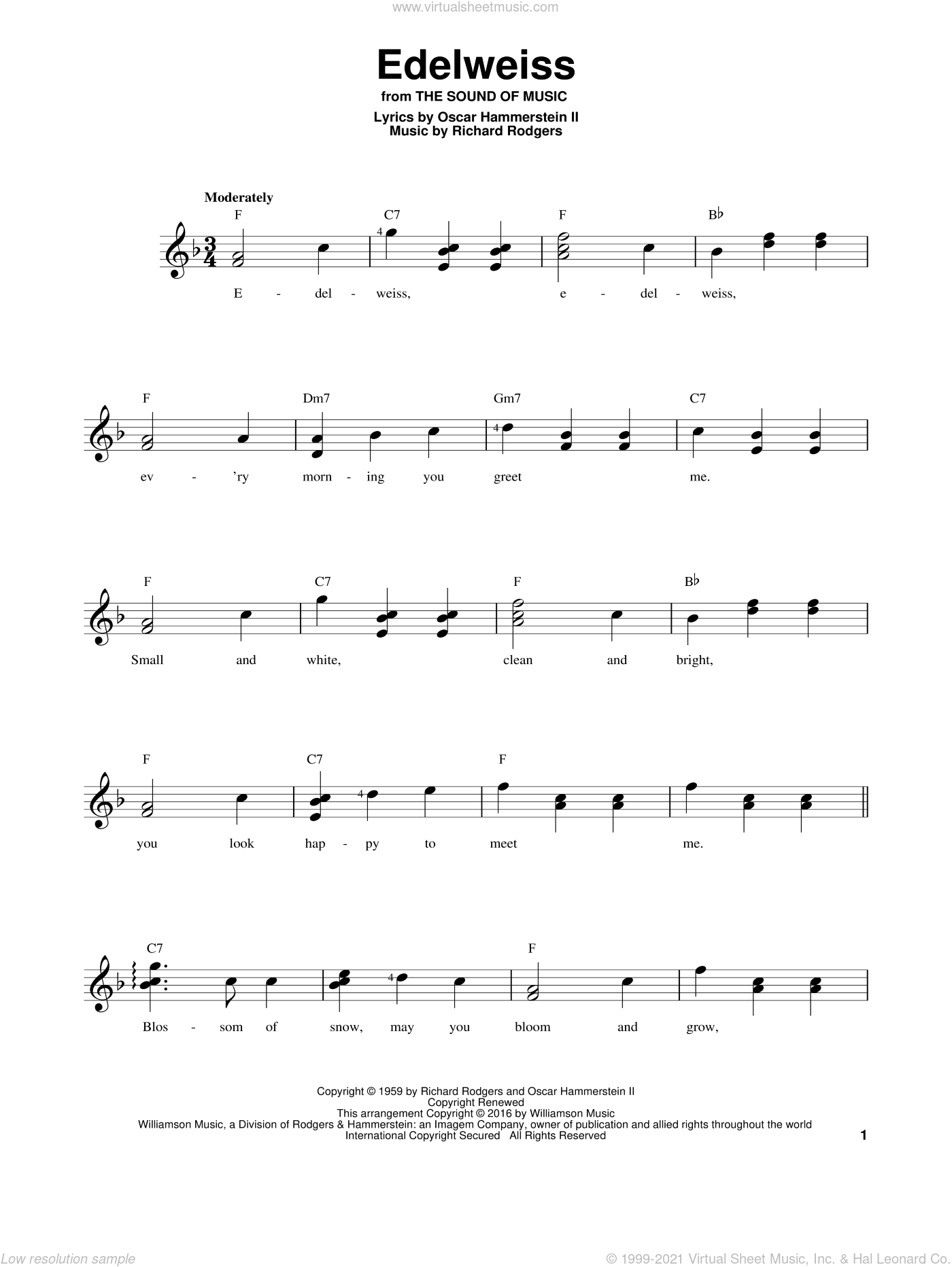 Edelweiss sheet music for guitar solo (chords) by Rodgers & Hammerstein, Oscar II Hammerstein and Richard Rodgers, easy guitar (chords)