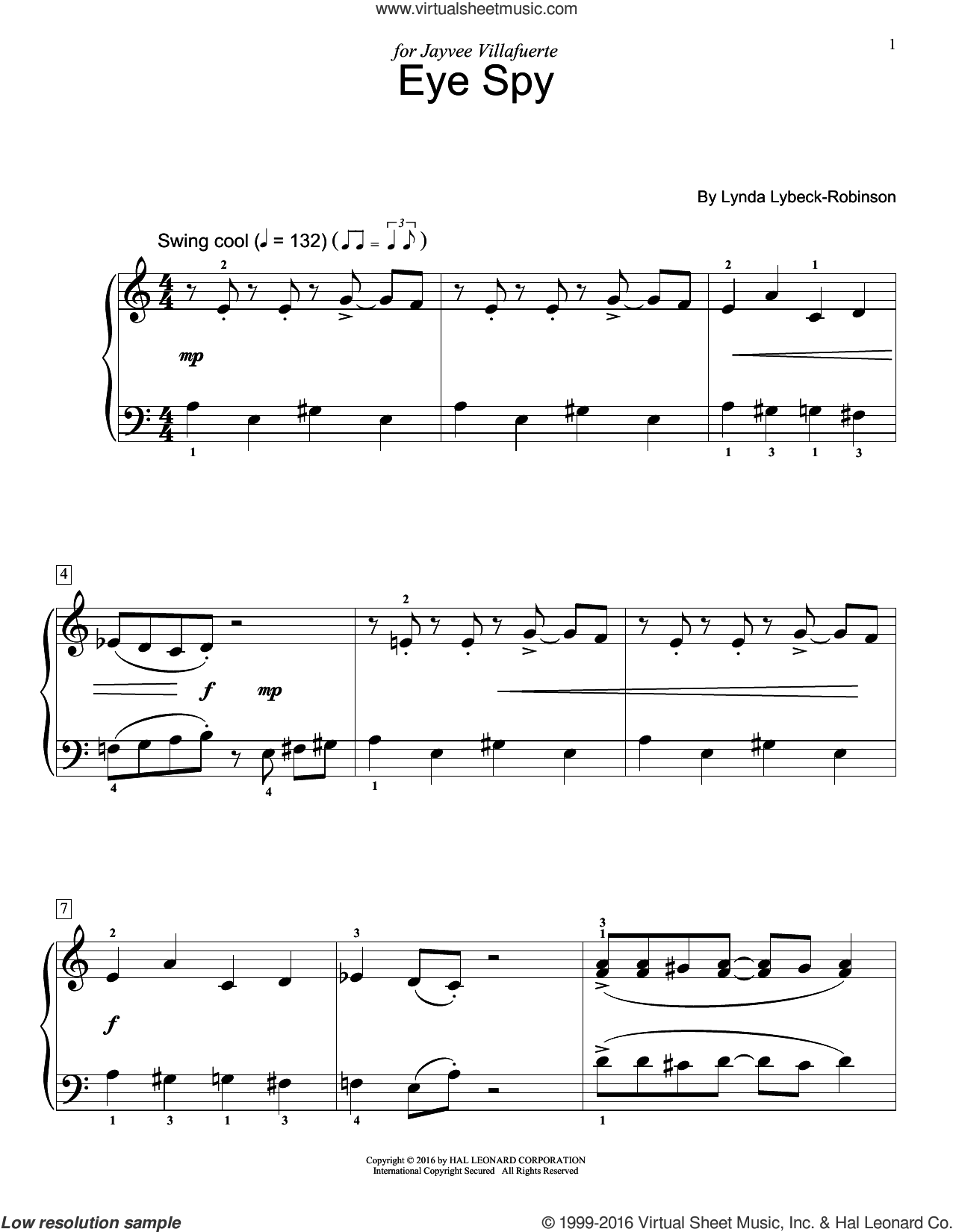 Eye Spy sheet music for piano solo (elementary) by Lynda Lybeck-Robinson. Score Image Preview.