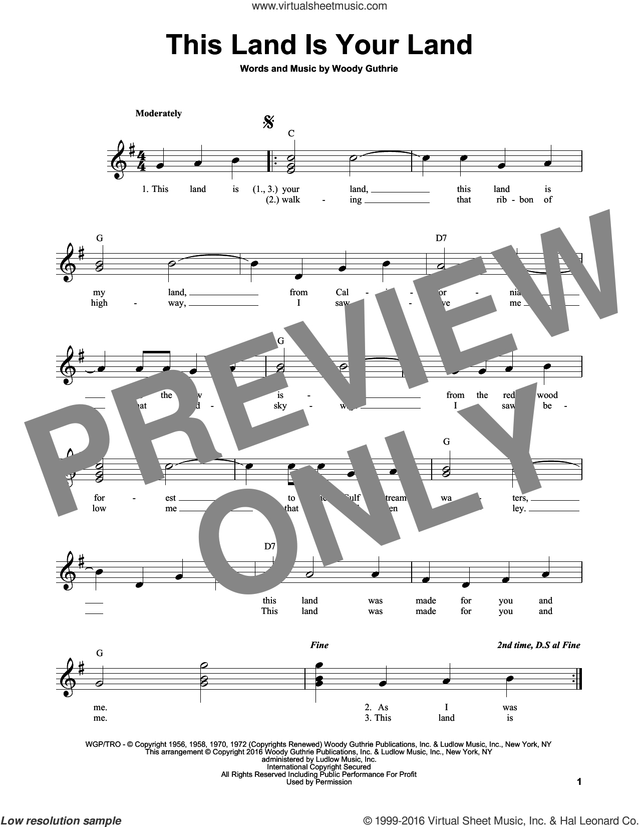 This Land Is Your Land sheet music for guitar solo (chords) by Woody Guthrie, easy guitar (chords)