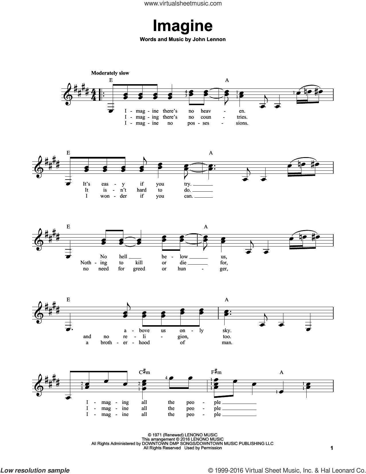 Imagine sheet music for guitar solo (chords) by John Lennon, easy guitar (chords). Score Image Preview.