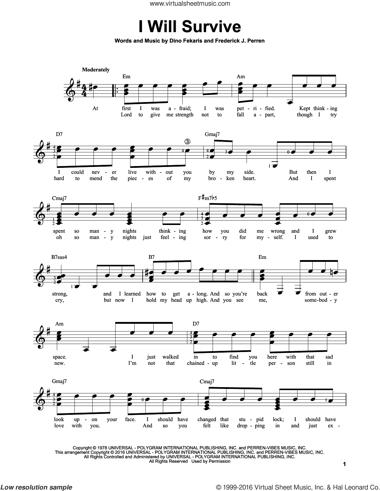 I Will Survive sheet music for guitar solo (chords) by Gloria Gaynor, Chantay Savage, Dino Fekaris and Frederick Perren, easy guitar (chords). Score Image Preview.