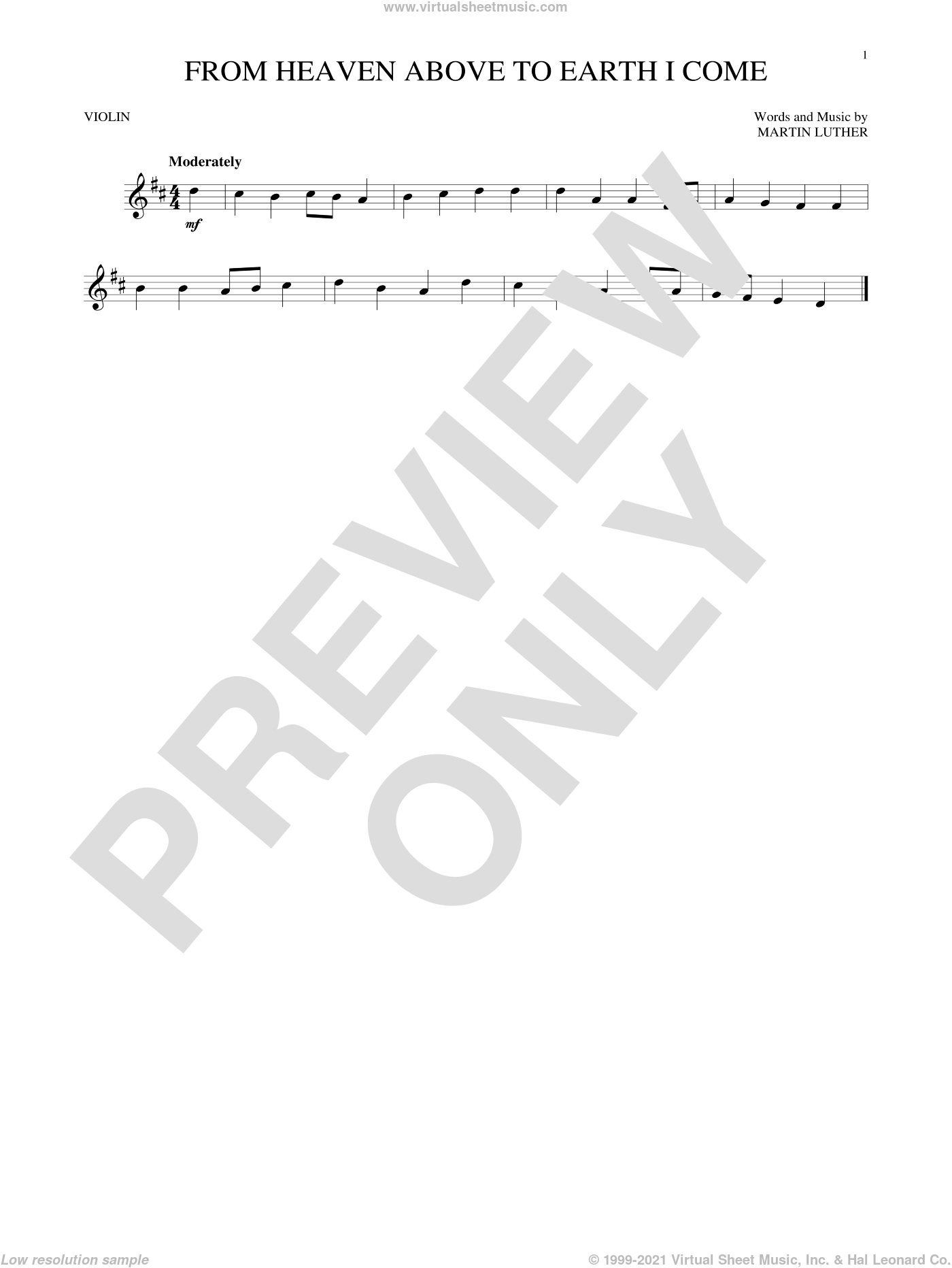 From Heaven Above To Earth I Come sheet music for violin solo by Martin Luther and Geistliche Lieder. Score Image Preview.