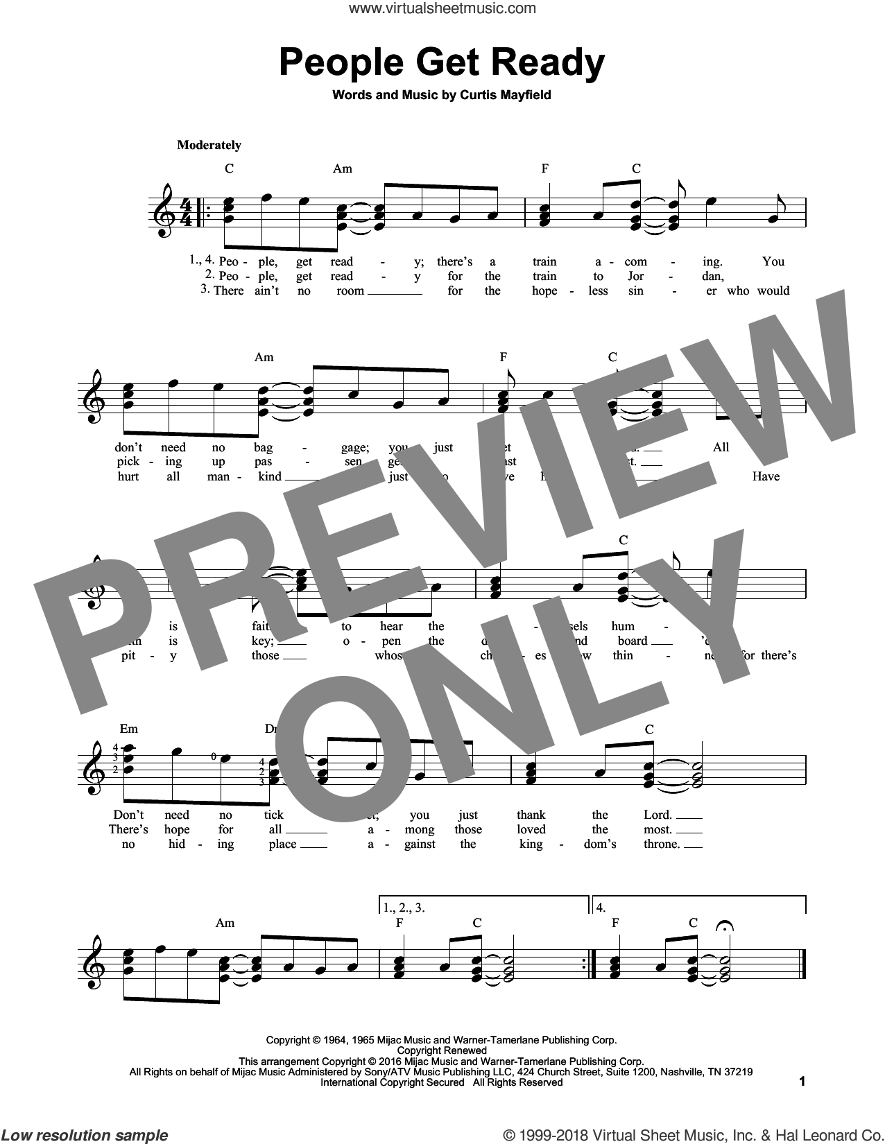 People Get Ready sheet music for guitar solo (chords) by Bob Marley, Rod Stewart and Curtis Mayfield, easy guitar (chords)