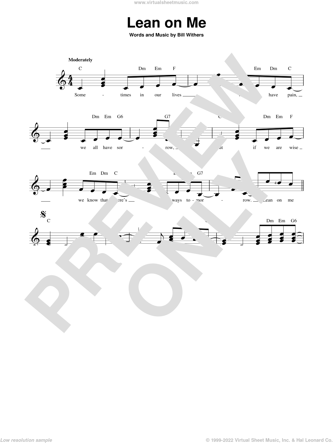 Lean On Me sheet music for guitar solo (chords) by Bill Withers, easy guitar (chords)