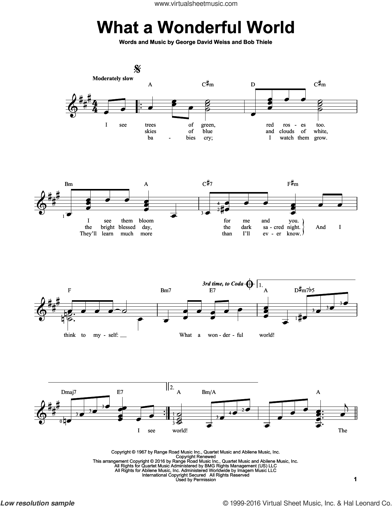 What A Wonderful World sheet music for guitar solo (chords) by George David Weiss, Louis Armstrong and Bob Thiele. Score Image Preview.