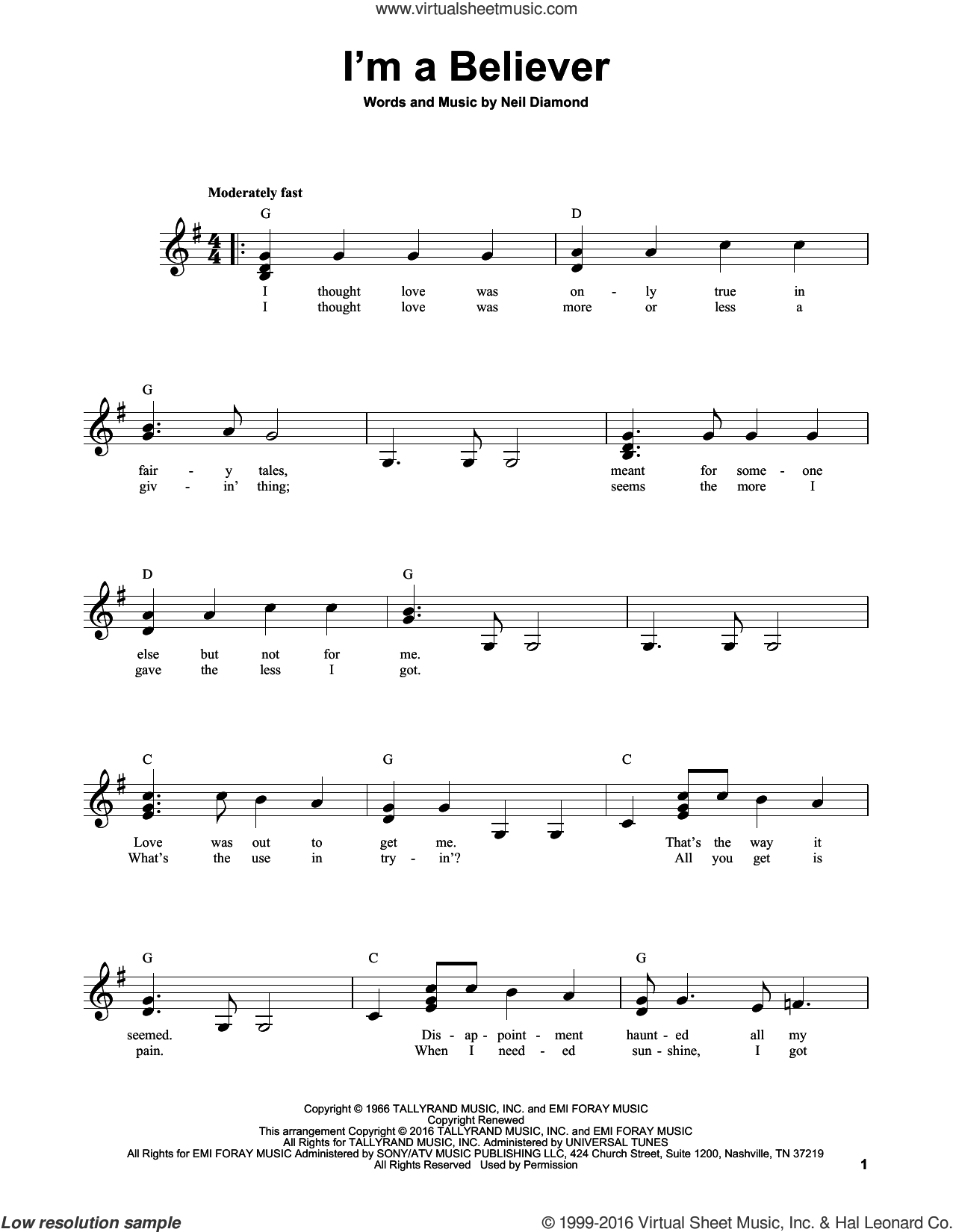 I'm A Believer sheet music for guitar solo (chords) by The Monkees, Smash Mouth and Neil Diamond, easy guitar (chords)