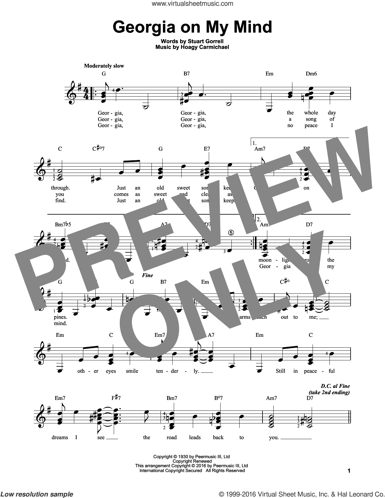 Georgia On My Mind sheet music for guitar solo (chords) by Ray Charles, Willie Nelson, Hoagy Carmichael and Stuart Gorrell, easy guitar (chords). Score Image Preview.