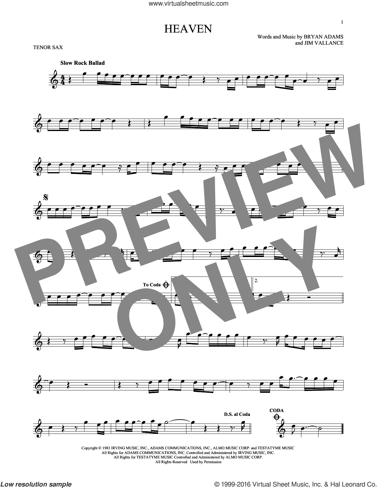 Heaven sheet music for tenor saxophone solo by Bryan Adams and Jim Vallance, intermediate tenor saxophone. Score Image Preview.