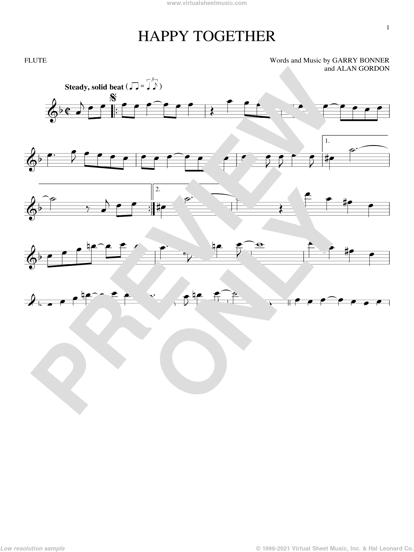 Happy Together sheet music for flute solo by The Turtles, Alan Gordon and Garry Bonner, intermediate skill level