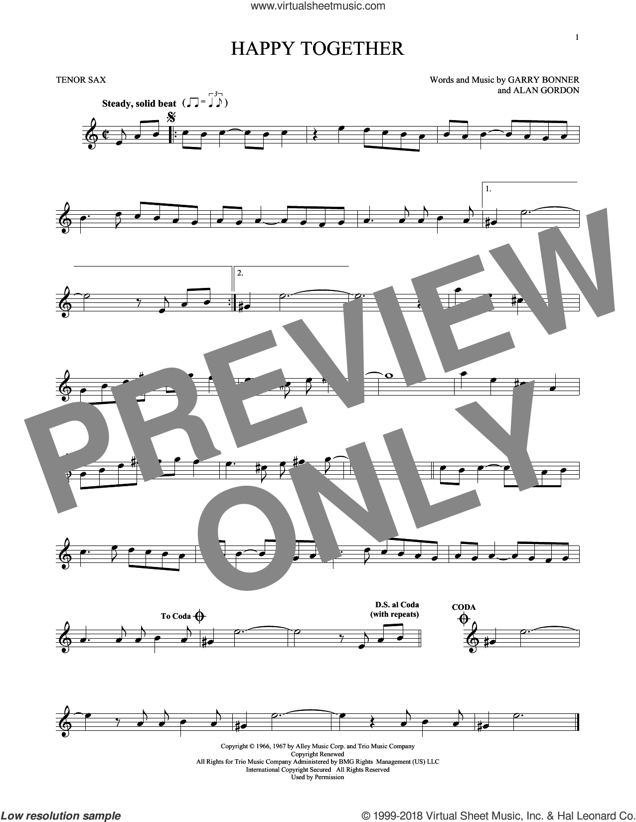 Happy Together sheet music for tenor saxophone solo by The Turtles, Alan Gordon and Garry Bonner, intermediate skill level