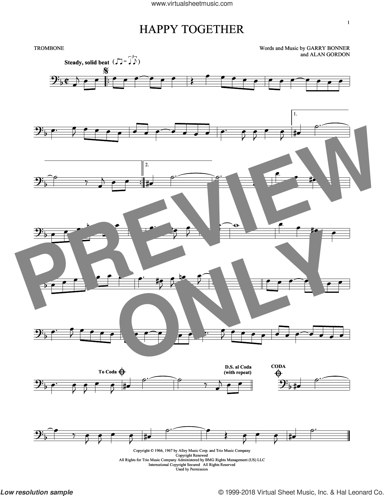 Happy Together sheet music for trombone solo by The Turtles, Alan Gordon and Garry Bonner, intermediate skill level