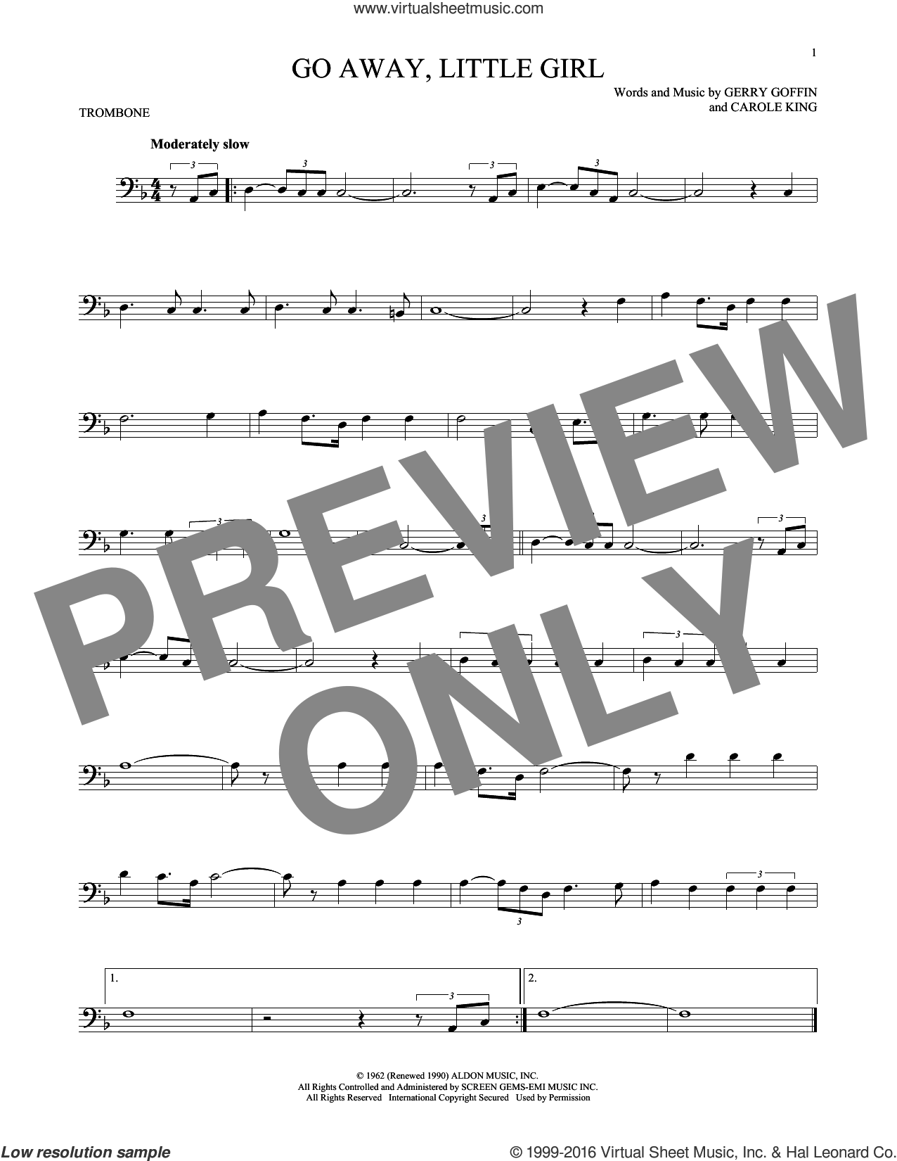 Go Away, Little Girl sheet music for trombone solo by Donny Osmond, Steve Lawrence, Carole King and Gerry Goffin, intermediate skill level