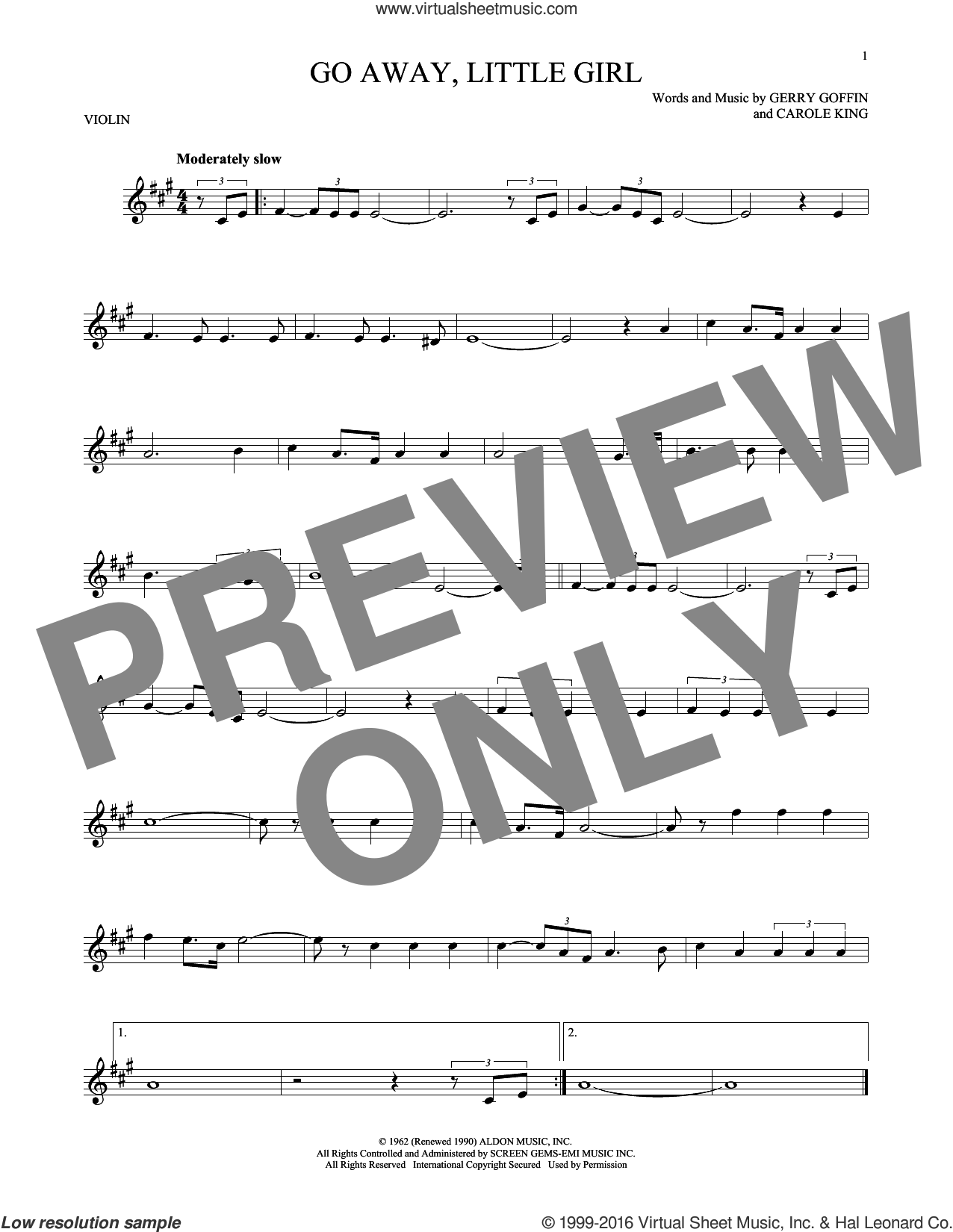 Go Away, Little Girl sheet music for violin solo by Donny Osmond, Steve Lawrence, Carole King and Gerry Goffin, intermediate violin. Score Image Preview.