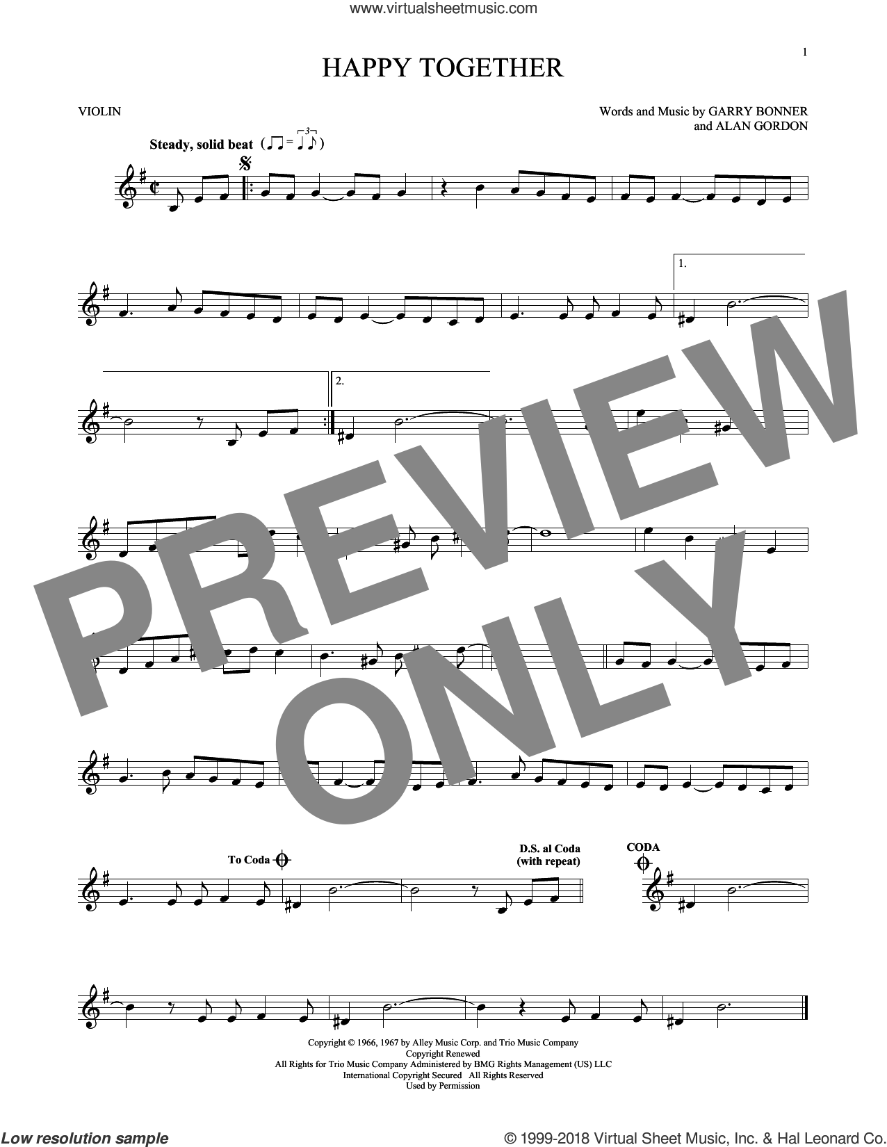 Happy Together sheet music for violin solo by The Turtles, Alan Gordon and Garry Bonner, intermediate skill level