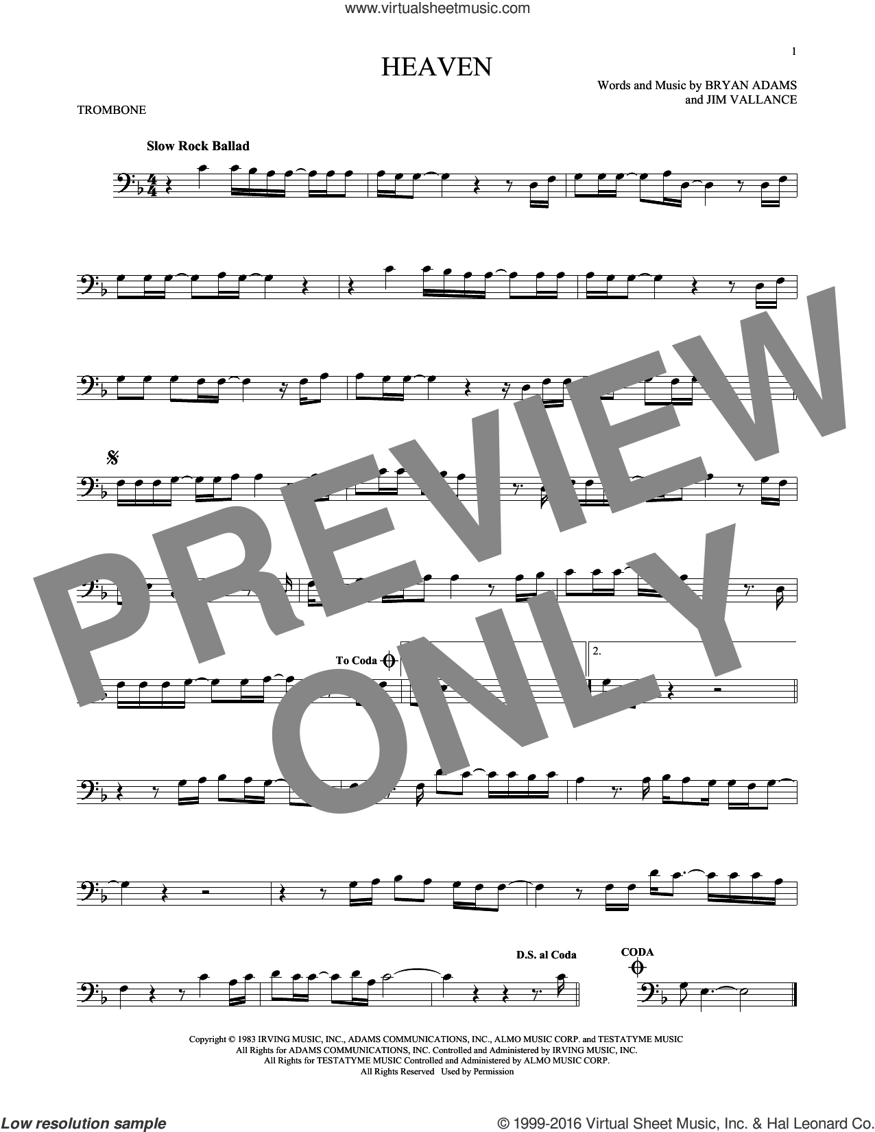 Heaven sheet music for trombone solo by Bryan Adams and Jim Vallance, intermediate trombone. Score Image Preview.