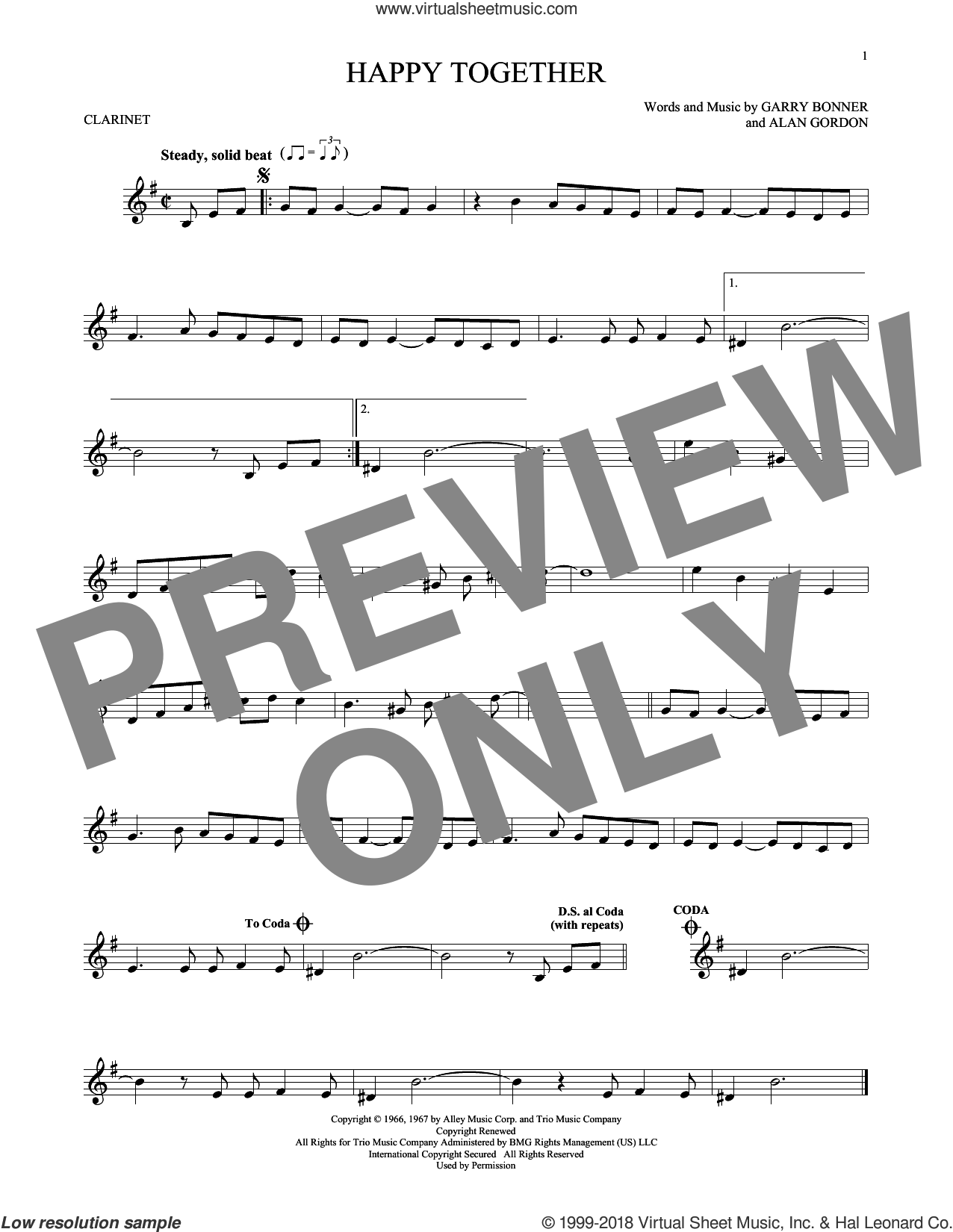 Happy Together sheet music for clarinet solo by The Turtles, Alan Gordon and Garry Bonner, intermediate skill level
