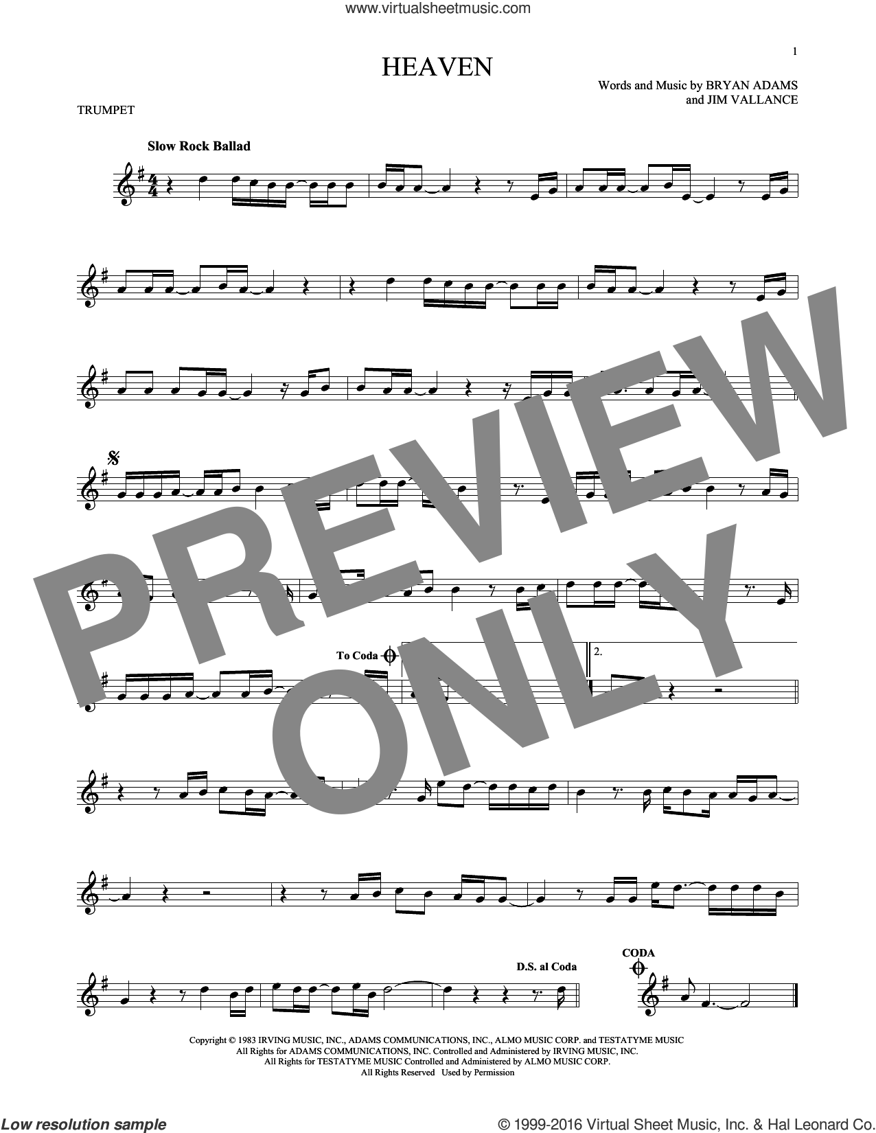 Heaven sheet music for trumpet solo by Bryan Adams and Jim Vallance, intermediate skill level