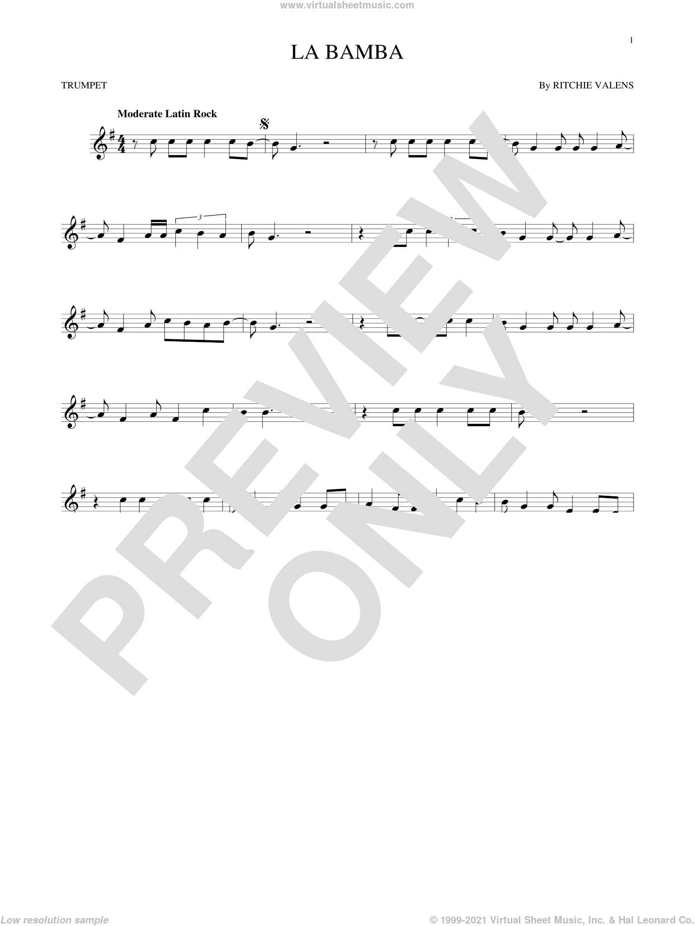 La Bamba sheet music for trumpet solo by Ritchie Valens and Los Lobos, intermediate skill level