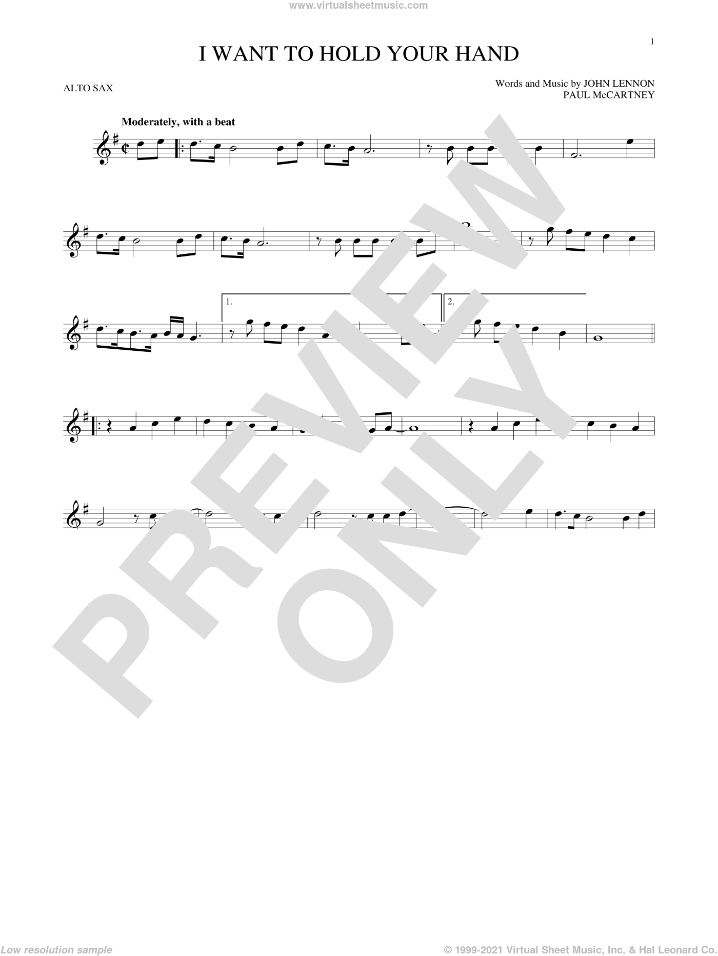 I Want To Hold Your Hand sheet music for alto saxophone solo by The Beatles, John Lennon and Paul McCartney, intermediate skill level