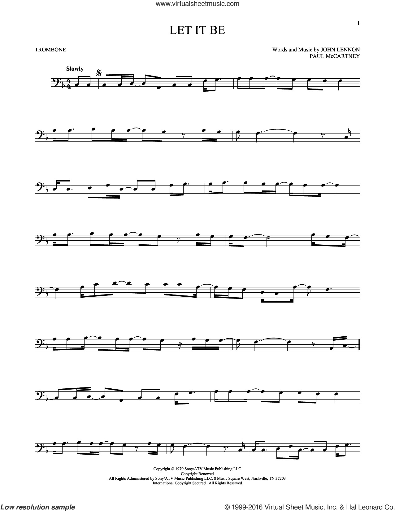 Let It Be sheet music for trombone solo by Paul McCartney, The Beatles and John Lennon. Score Image Preview.
