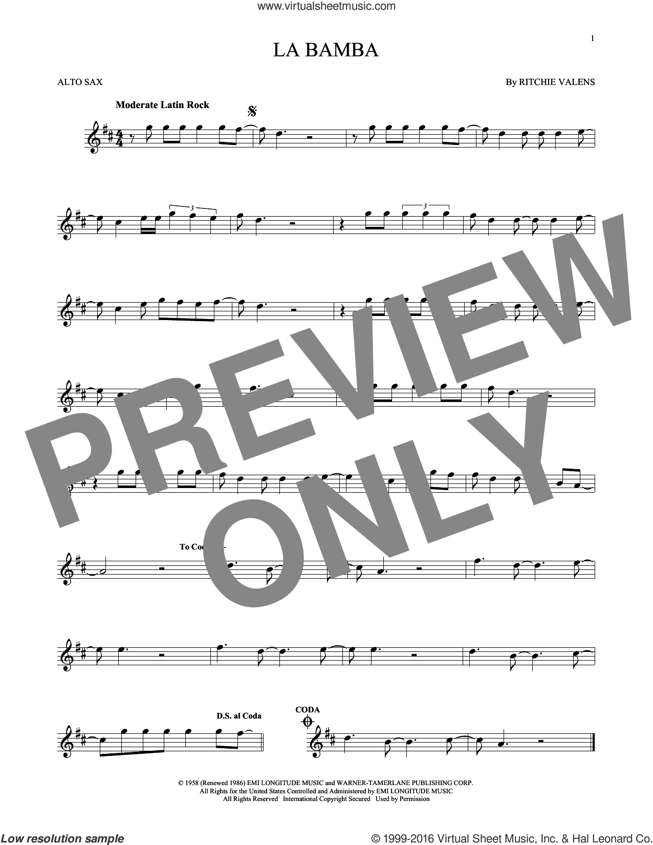 La Bamba sheet music for alto saxophone solo by Ritchie Valens and Los Lobos. Score Image Preview.