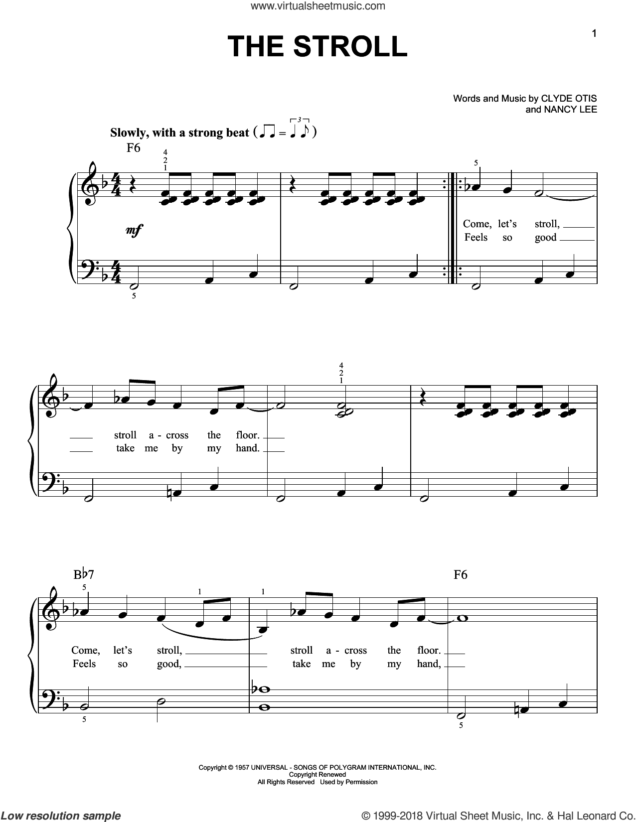 The Stroll sheet music for piano solo by Nancy Lee, The Diamonds and Clyde Otis. Score Image Preview.