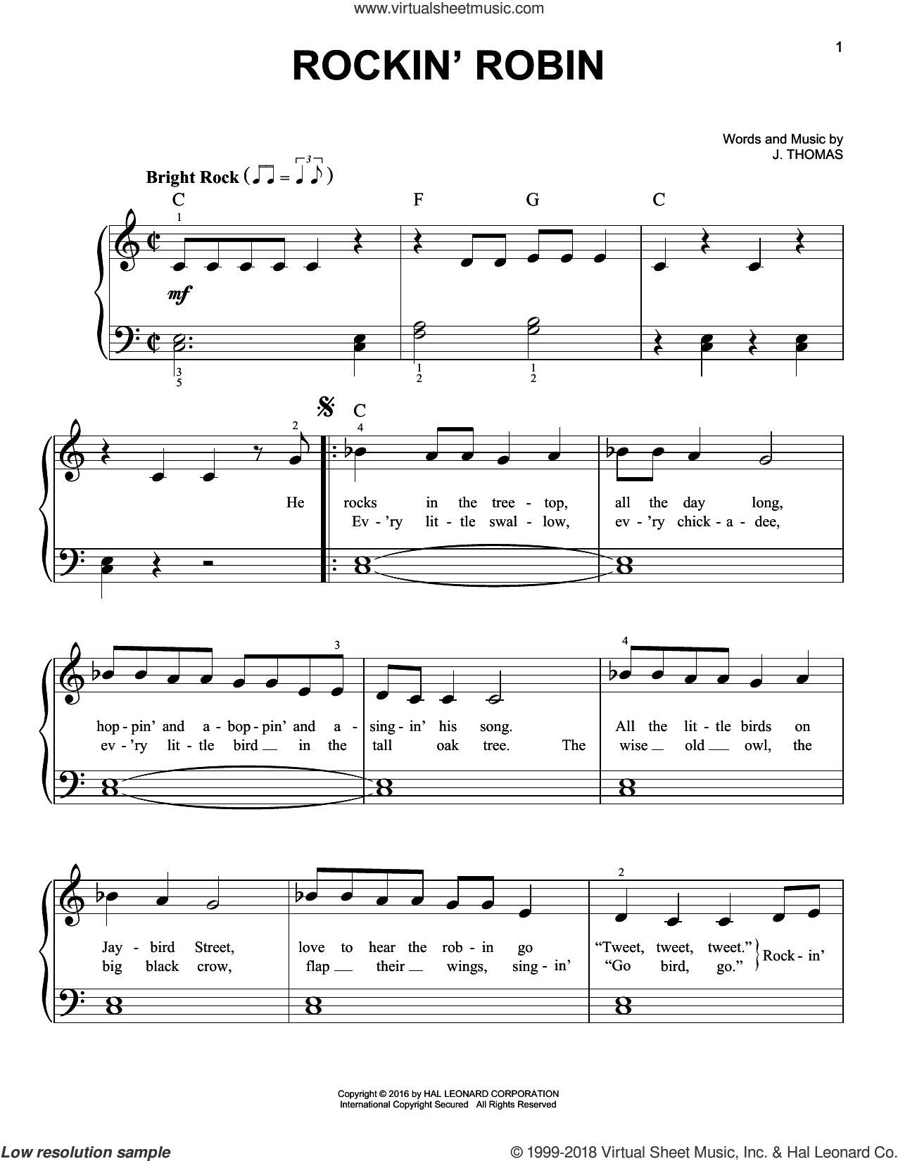 Rockin' Robin sheet music for piano solo by Michael Jackson, Bobby Day and Thomas Jimmie, easy piano. Score Image Preview.