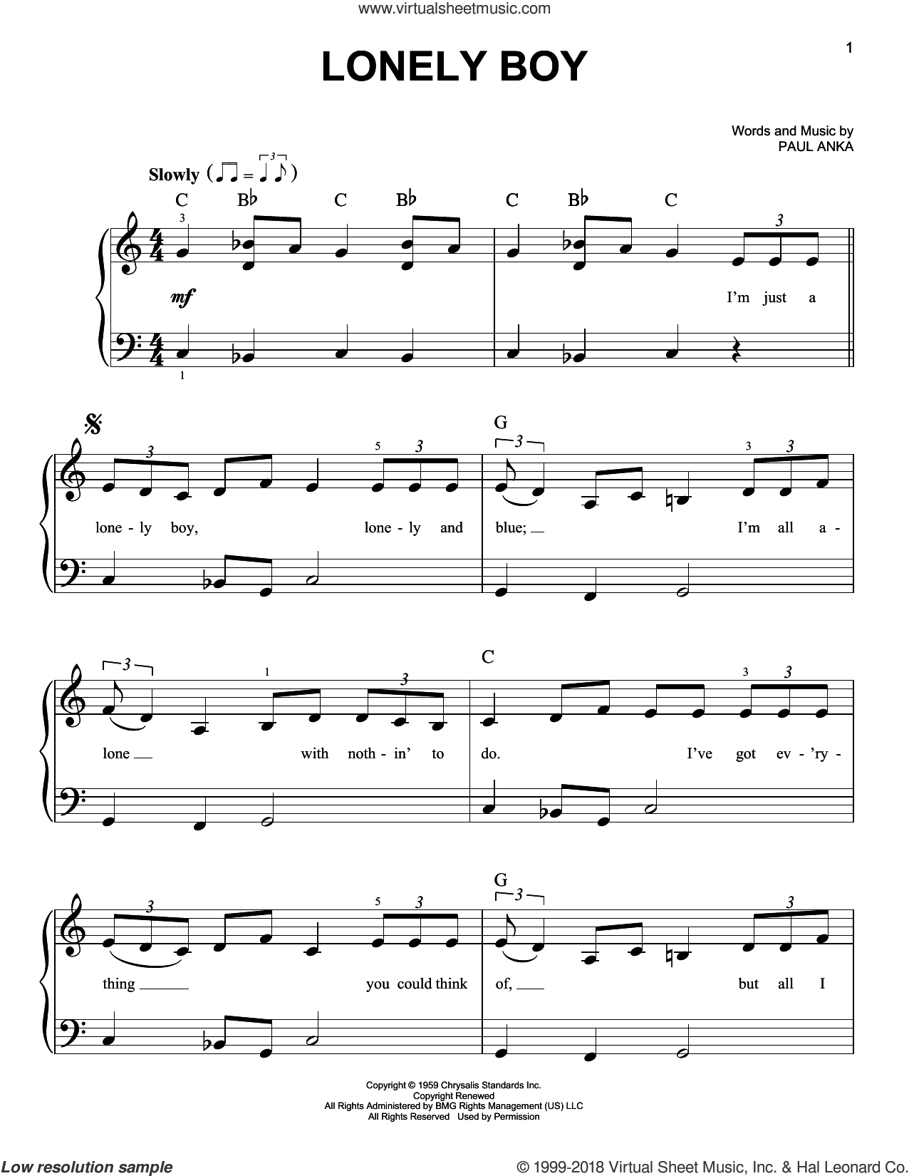 Lonely Boy sheet music for piano solo by Paul Anka, beginner skill level