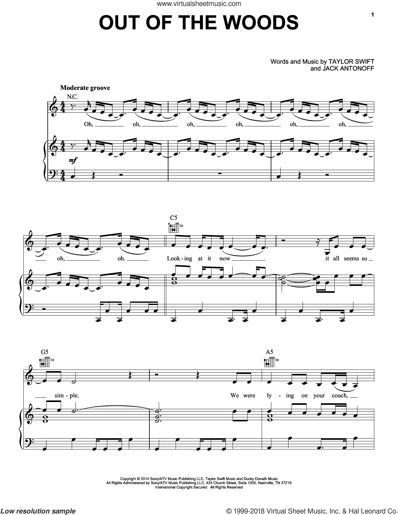 Out Of The Woods sheet music for voice, piano or guitar plus backing track by Taylor Swift and Jack Antonoff, intermediate. Score Image Preview.