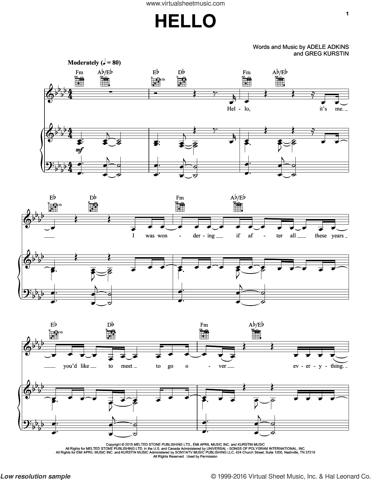 Hello sheet music for voice, piano or guitar plus backing track by Greg Kurstin, Adele and Adele Adkins. Score Image Preview.