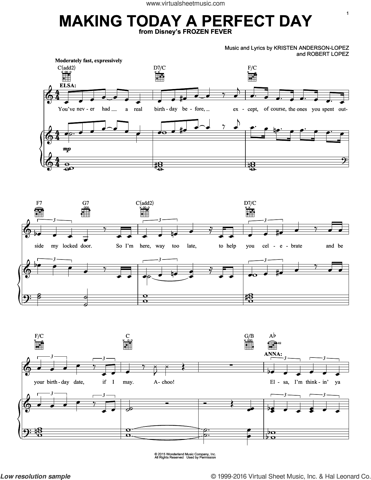 Making Today A Perfect Day sheet music for voice, piano or guitar plus backing track by Robert Lopez and Kristen Anderson-Lopez. Score Image Preview.