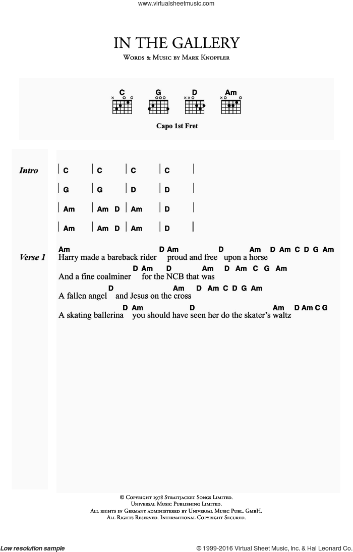In The Gallery sheet music for guitar (chords) by Mark Knopfler and Dire Straits. Score Image Preview.