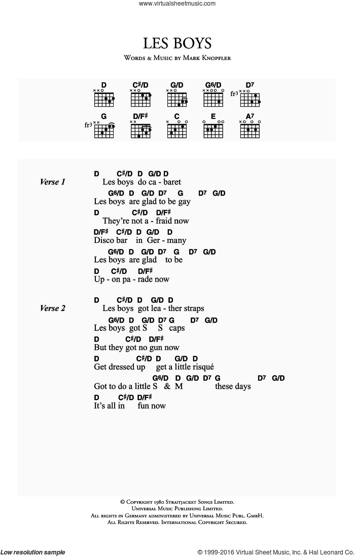 Les Boys sheet music for guitar (chords) by Dire Straits and Mark Knopfler, intermediate. Score Image Preview.