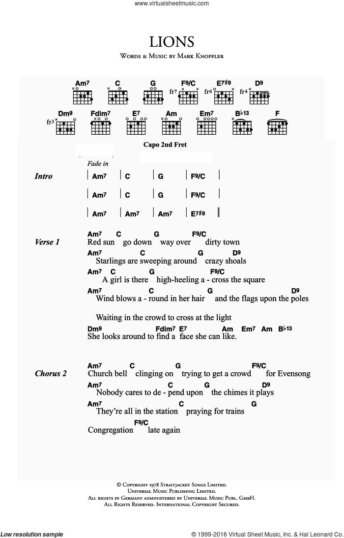 Lions sheet music for guitar (chords) by Dire Straits and Mark Knopfler. Score Image Preview.