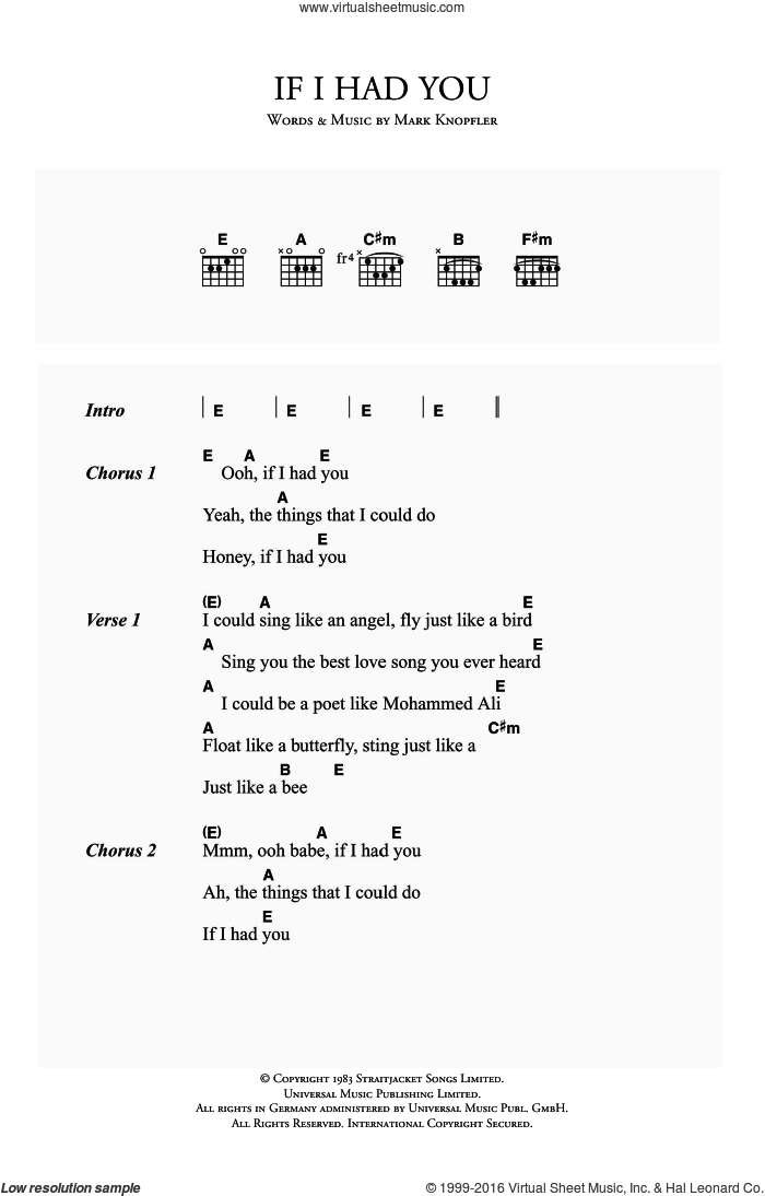 If I Had You sheet music for guitar (chords) by Mark Knopfler and Dire Straits. Score Image Preview.
