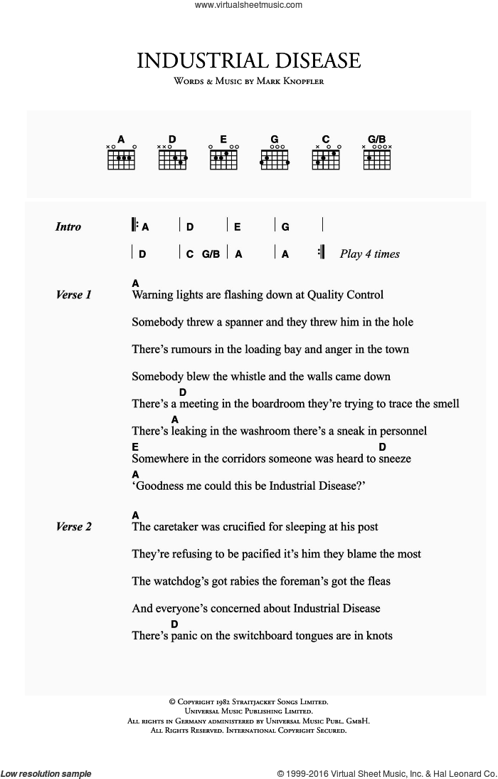 Industrial Disease sheet music for guitar (chords) by Dire Straits and Mark Knopfler. Score Image Preview.
