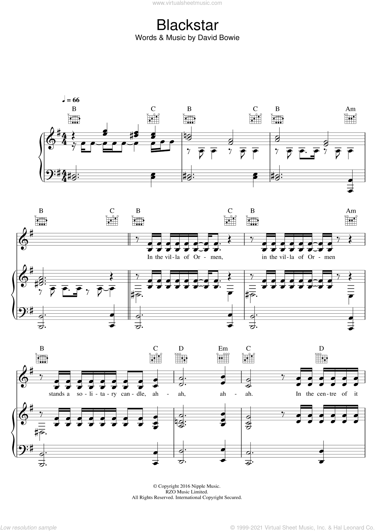Blackstar sheet music for voice, piano or guitar by David Bowie, intermediate skill level