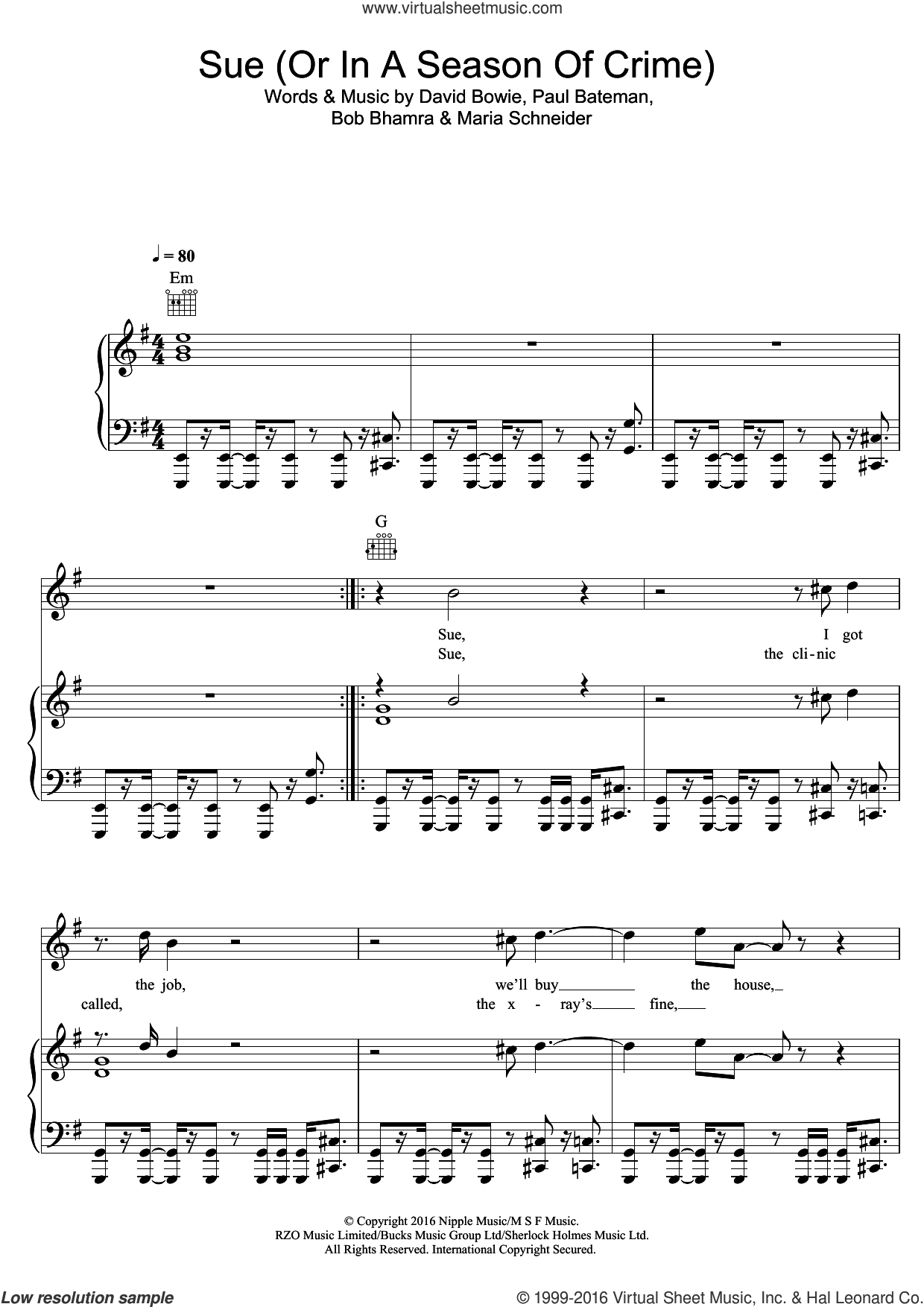 Sue (Or In A Season Of Crime) sheet music for voice, piano or guitar by David Bowie, Bob Bhamra, Maria Schneider and Paul Bateman, intermediate skill level