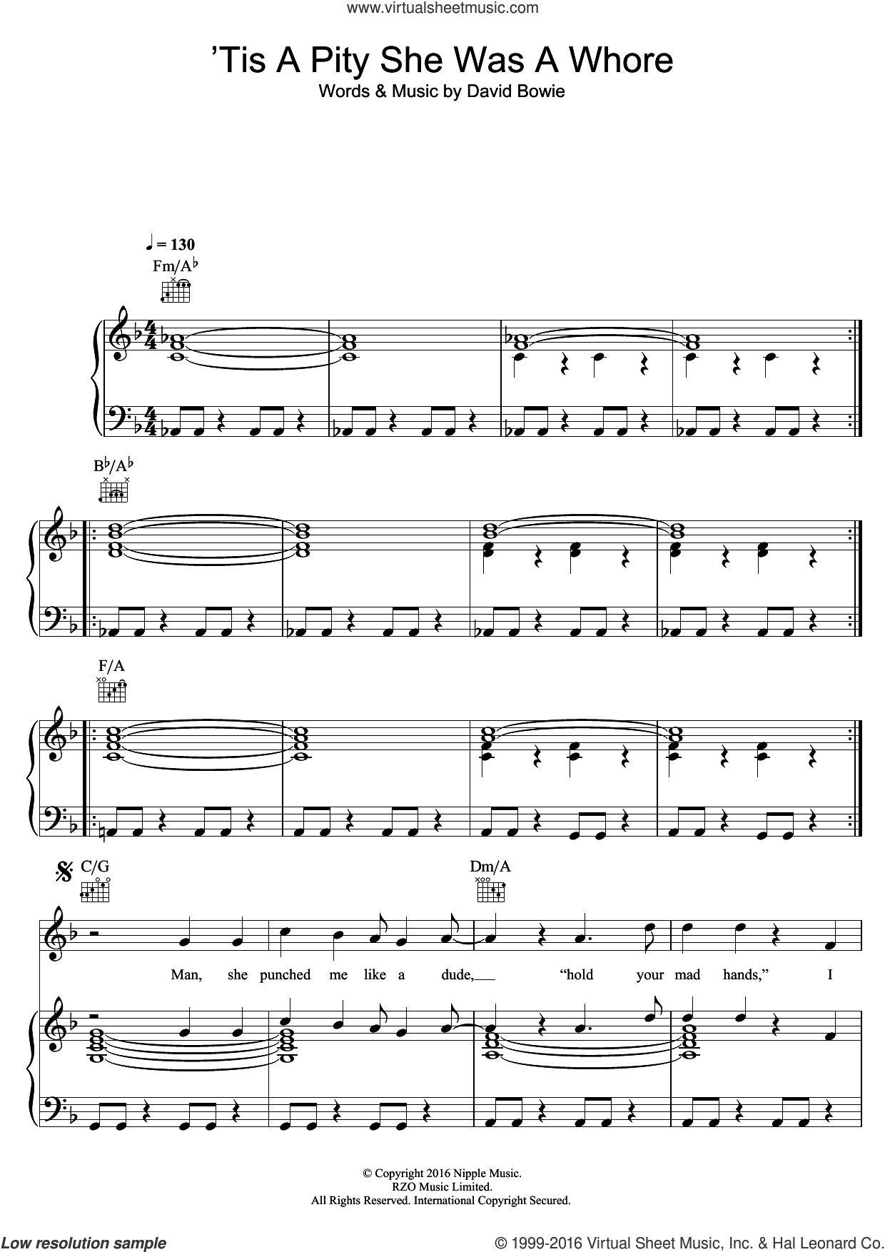'Tis A Pity She Was A Whore sheet music for voice, piano or guitar by David Bowie, intermediate skill level