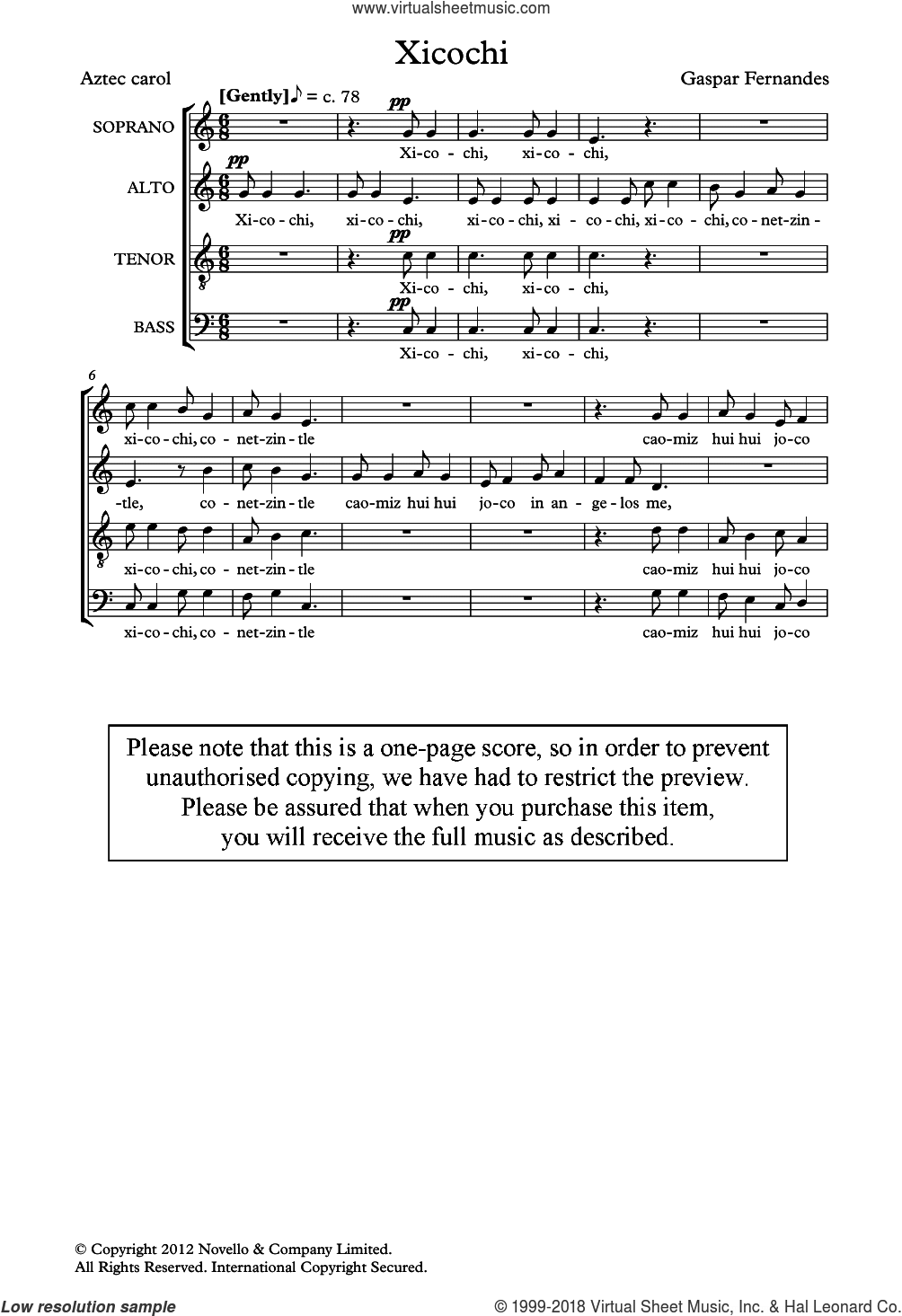 Xicochi sheet music for choir by Gaspar Fernandes and Miscellaneous, classical score, intermediate. Score Image Preview.