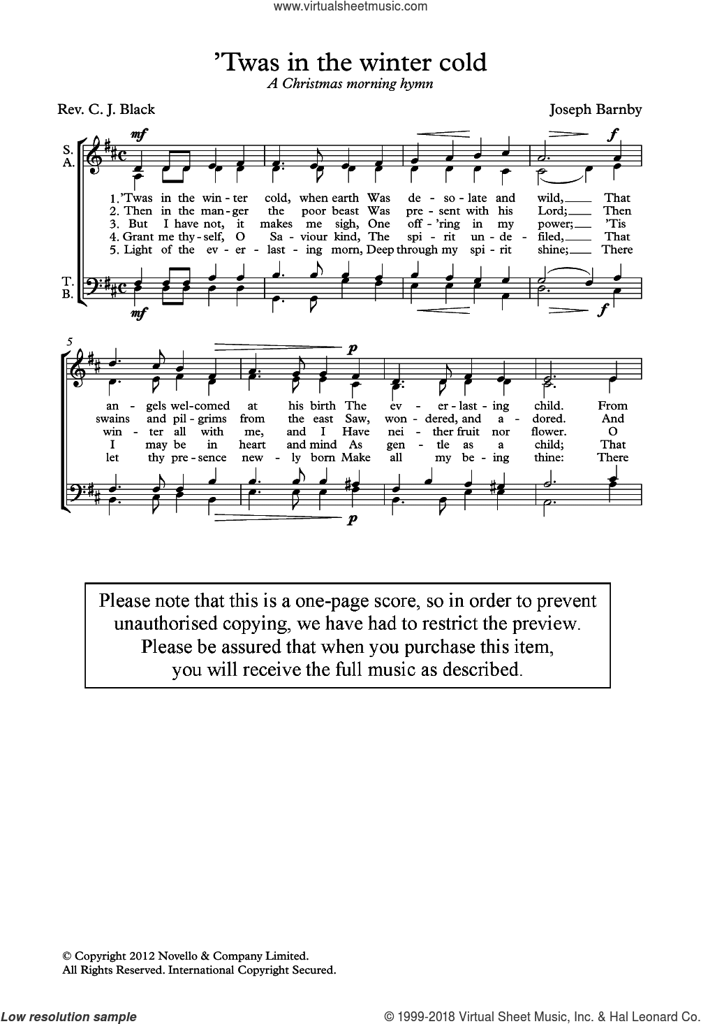 'Twas In The Winter Cold sheet music for choir by Joseph Barnby. Score Image Preview.
